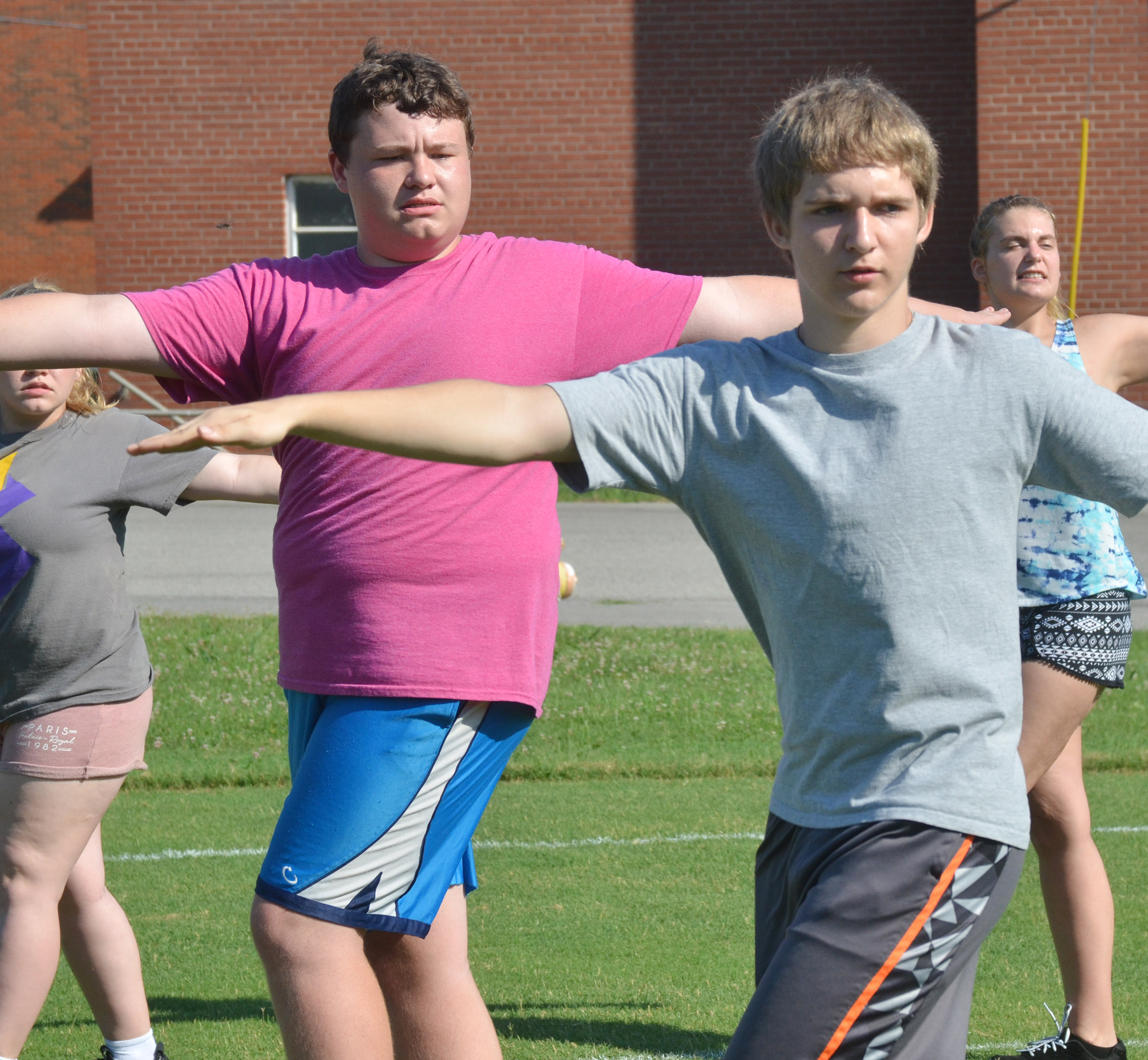 CHS sophomores Conner Riley, at left, and Tristin Lopez practice fundamentals.