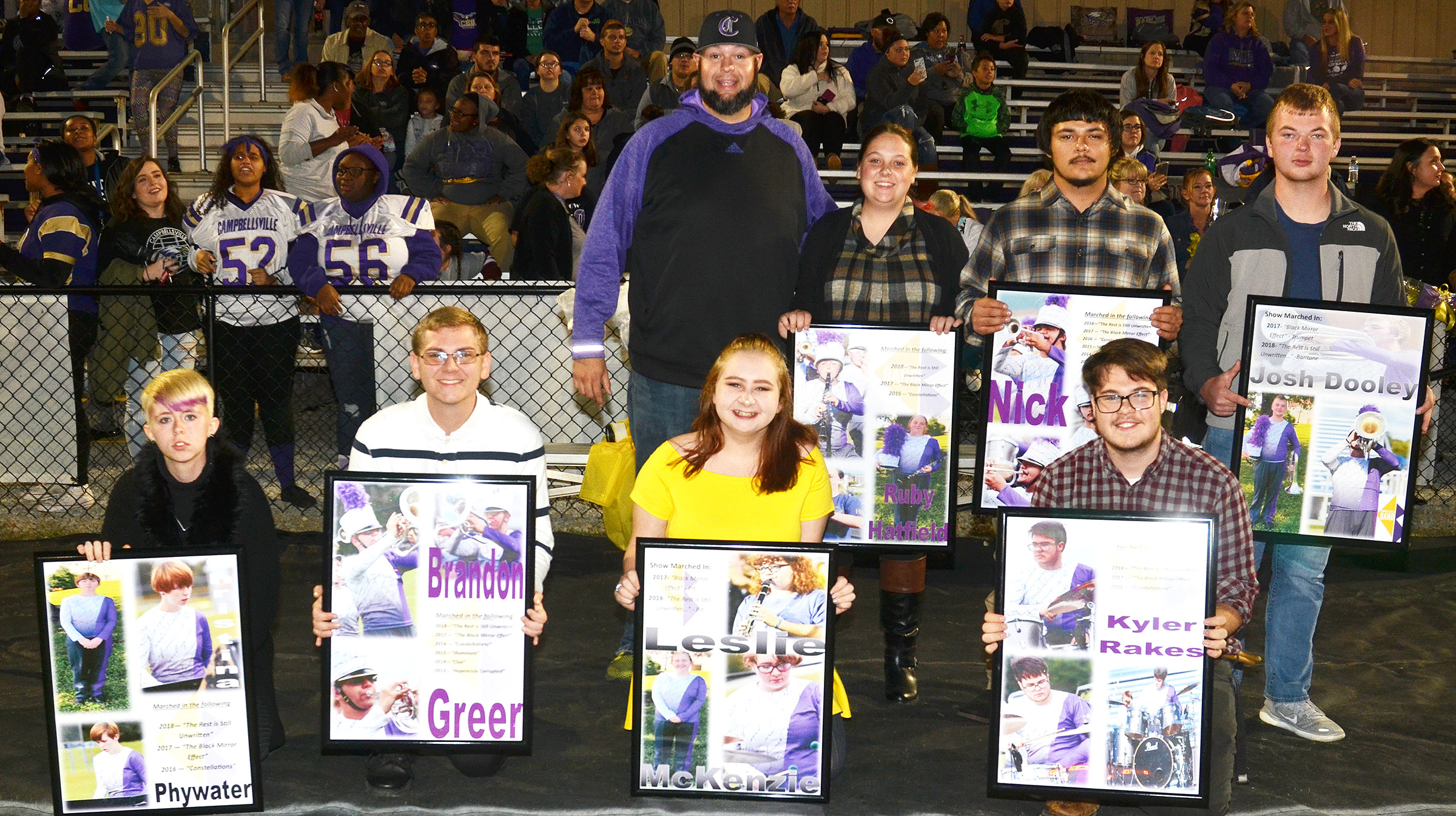 CHS senior marching band members are pictured with Director Zach Shelton. From left, front, are Christina Phywater, Brandon Greer, Leslie McKenzie and Kyler Rakes. Back, Shelton, Ruby Hatfield, Nick Cowan and Josh Dooley.