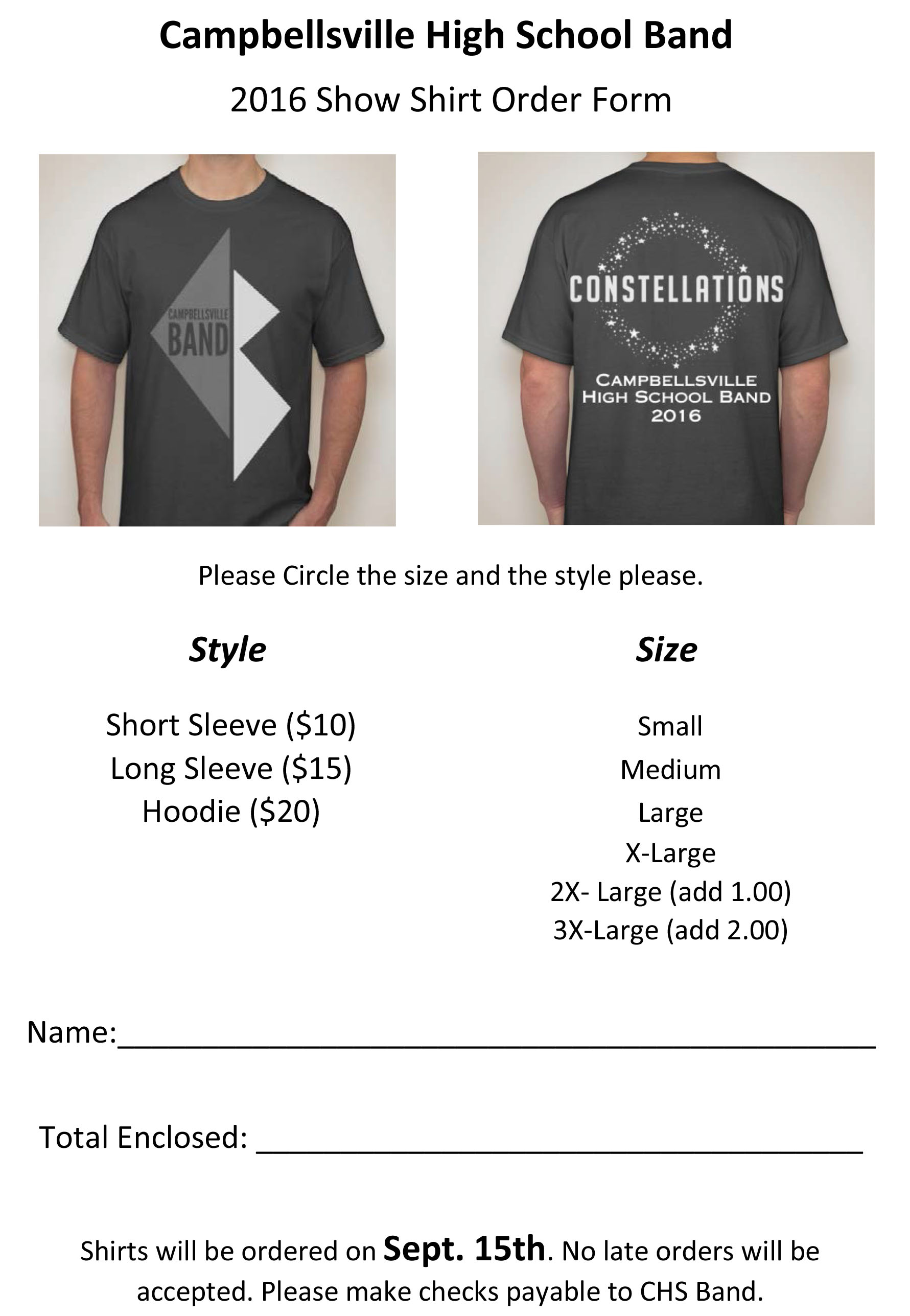 Campbellsville High School Marching Band is selling t-shirts, long-sleeved shirts and hooded sweatshirts.
