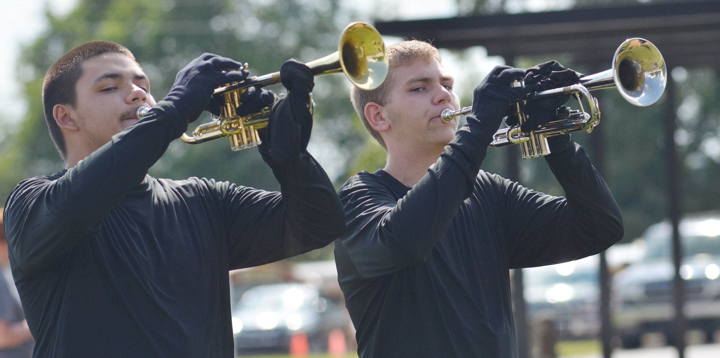 CHS junior Nick Cowan, at left, and sophomore Brandon Greer play trumpet.