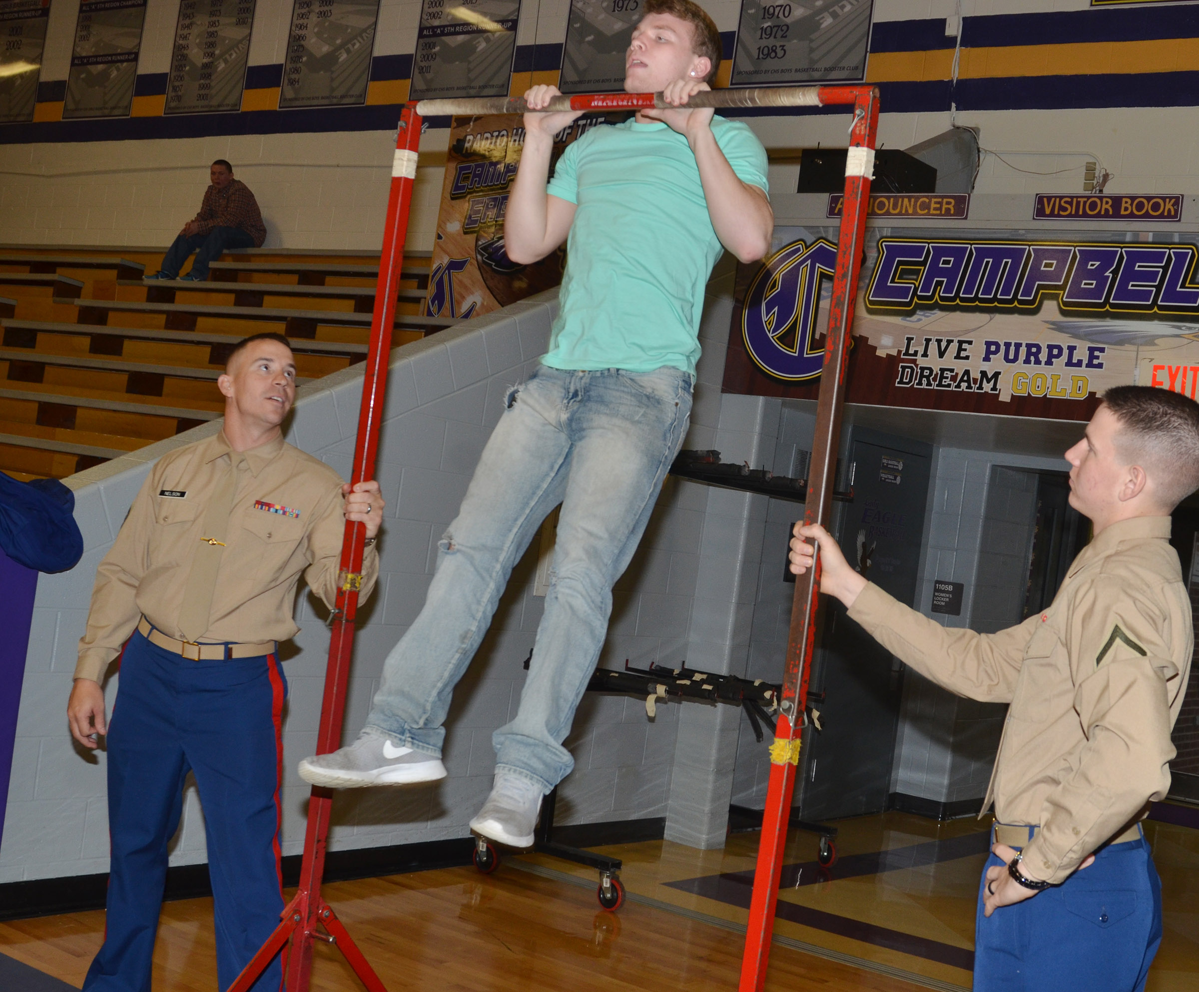 CHS sophomore Dakota Reardon does a pull up.