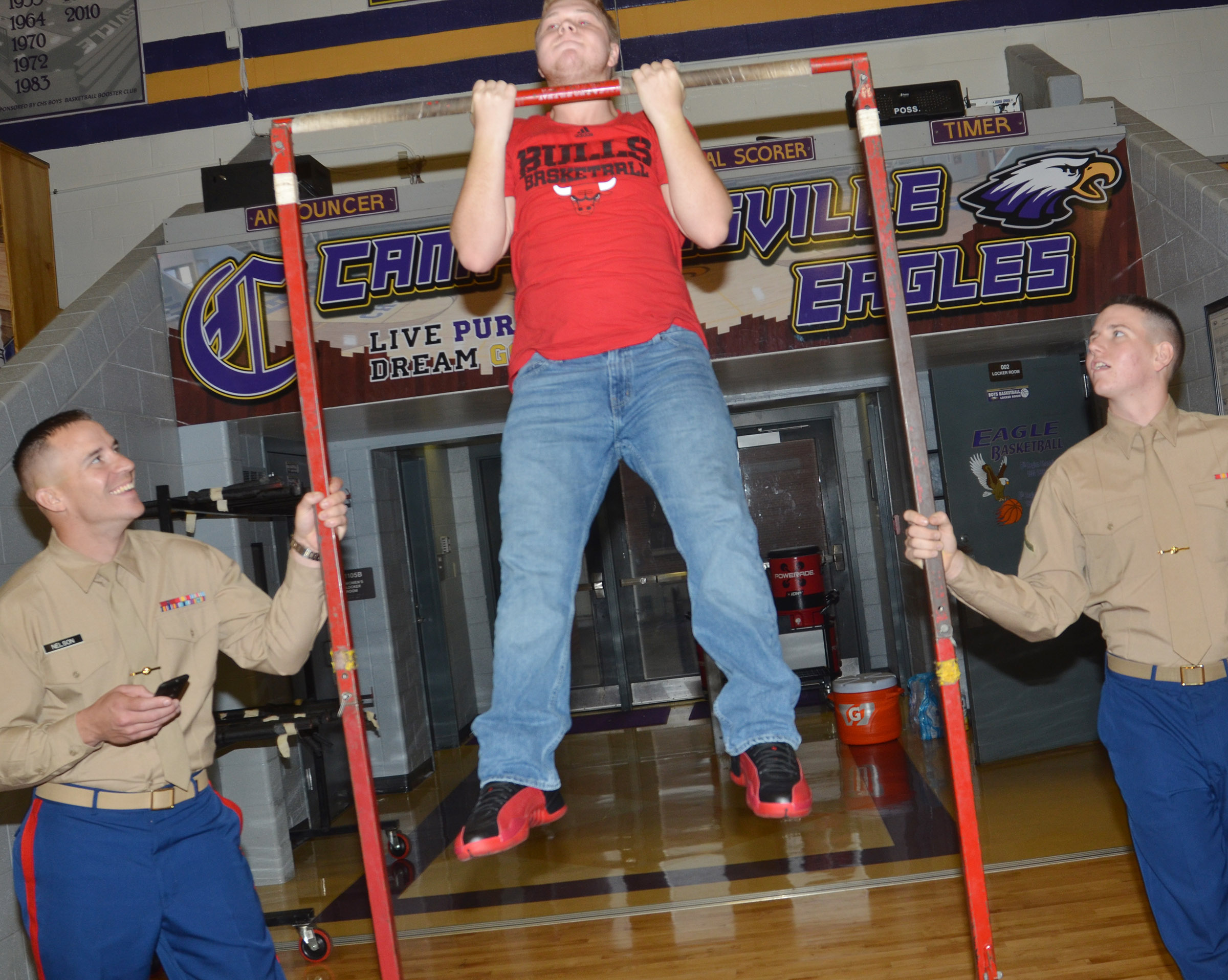 CHS senior Noah Wagers does a pull up.