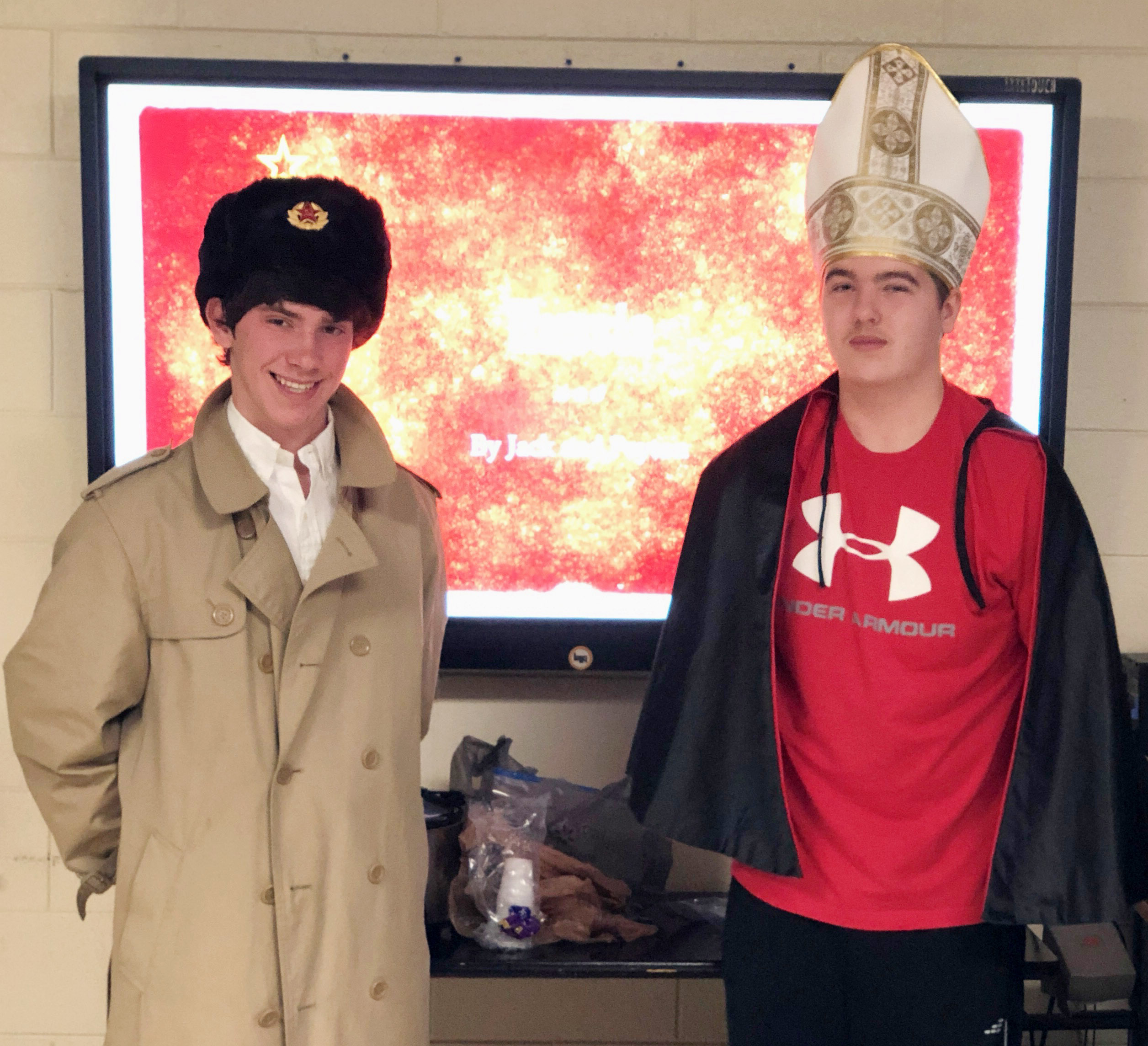 CHS freshmen Peyton Dabney, at left, and Jack Sabo dress the part as they present about Russia.