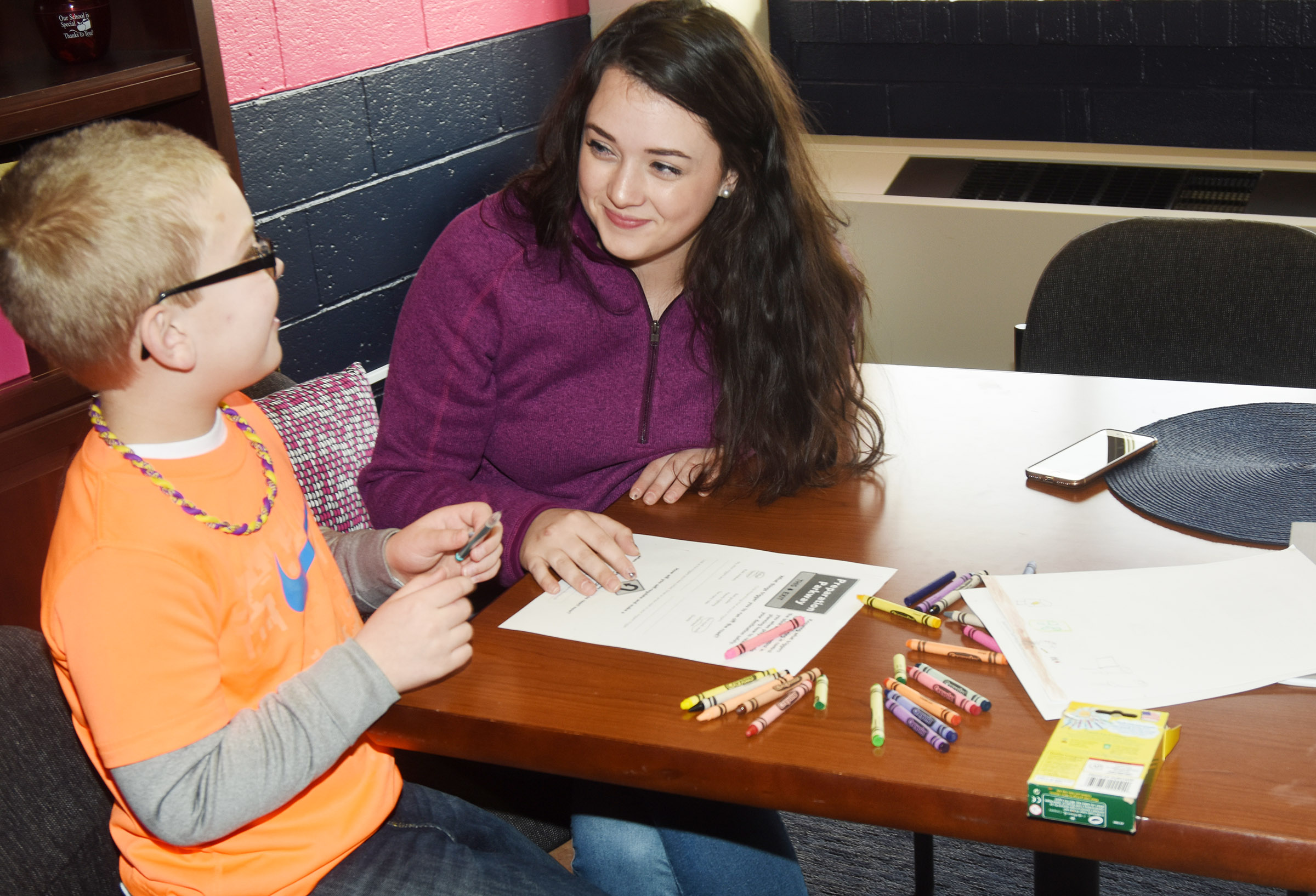 CHS senior Missy Vanorder talks to CES second-grader Ethan Bailey about the importance of doing well in school. Vanorder is completing an internship with Beth Wiedewitsch, who is a guidance counselor at Campbellsville elementary and middle schools.