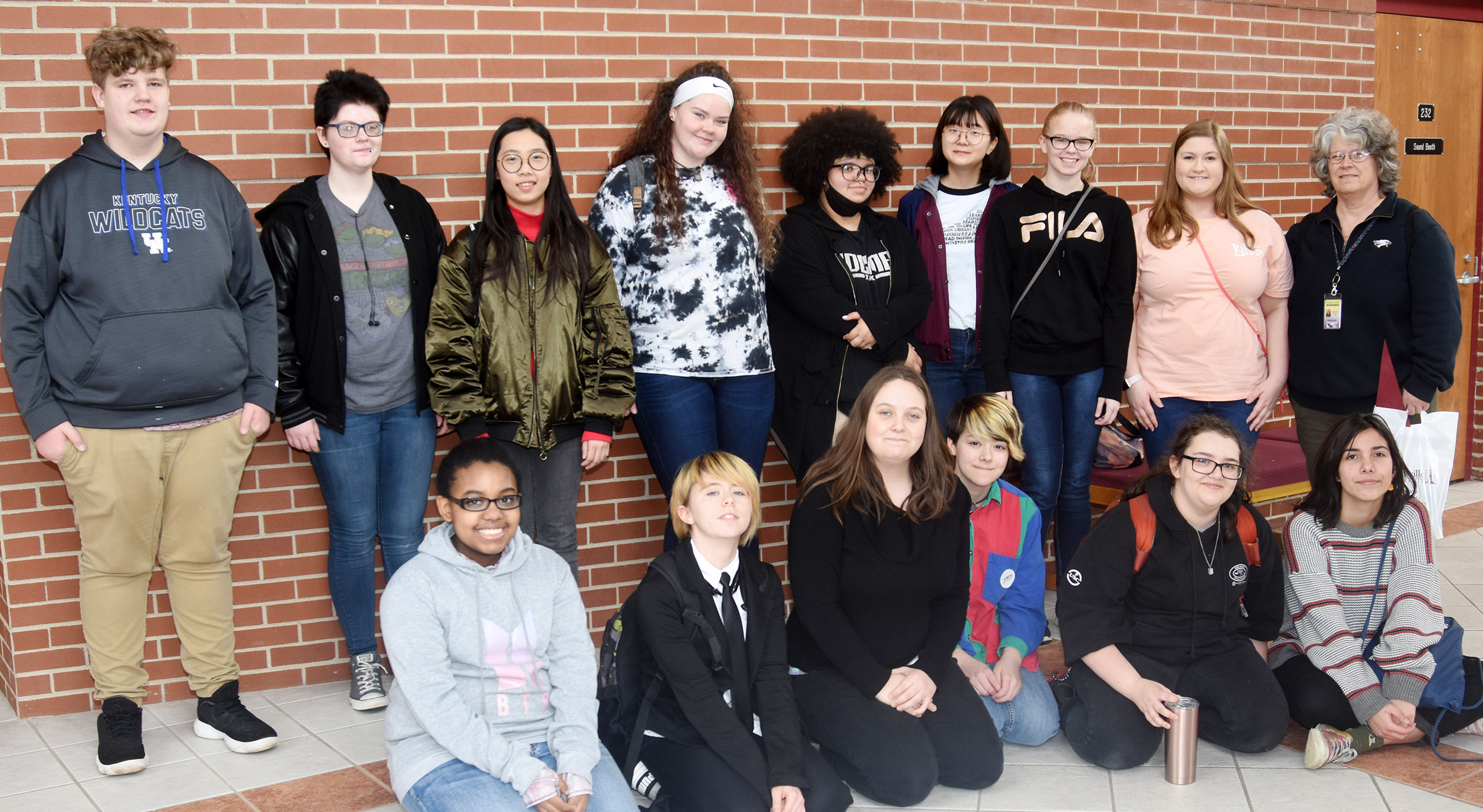 "CHS National Art Honor Society students attending ""A Day in the Visual Arts"" at Campbellsville University are, from left, front, freshman Jasmine Mitchell, juniors Christina Phipps, Ruby Hatfield and Chloe Decker, freshman Haley Lopez and junior Celeste Hassman. Back, freshmen Noah Mardis and Sierra Releford, junior Annie Lee, sophomore Shallan Philpott, junior Jay Tucker, senior Hye Su Cho, sophomores Tahler Franklin and Aleah Knifley and teacher Jo Ann Harris."