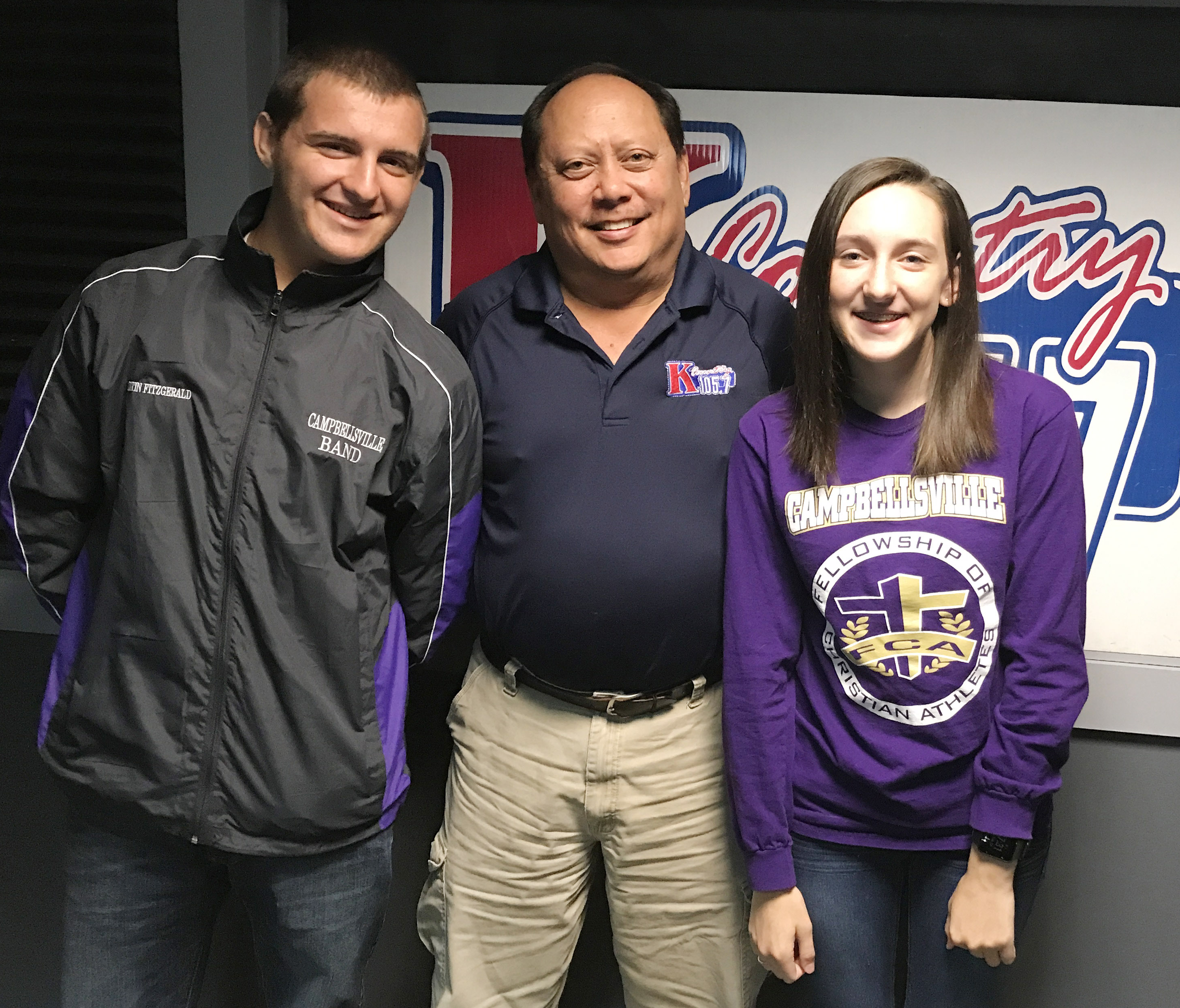 CHS sophomore Zoe McAninch and senior Austin Fitzgerald are on the air each Tuesday morning at about 7:20 a.m. with Bill Sanders on K-Country.