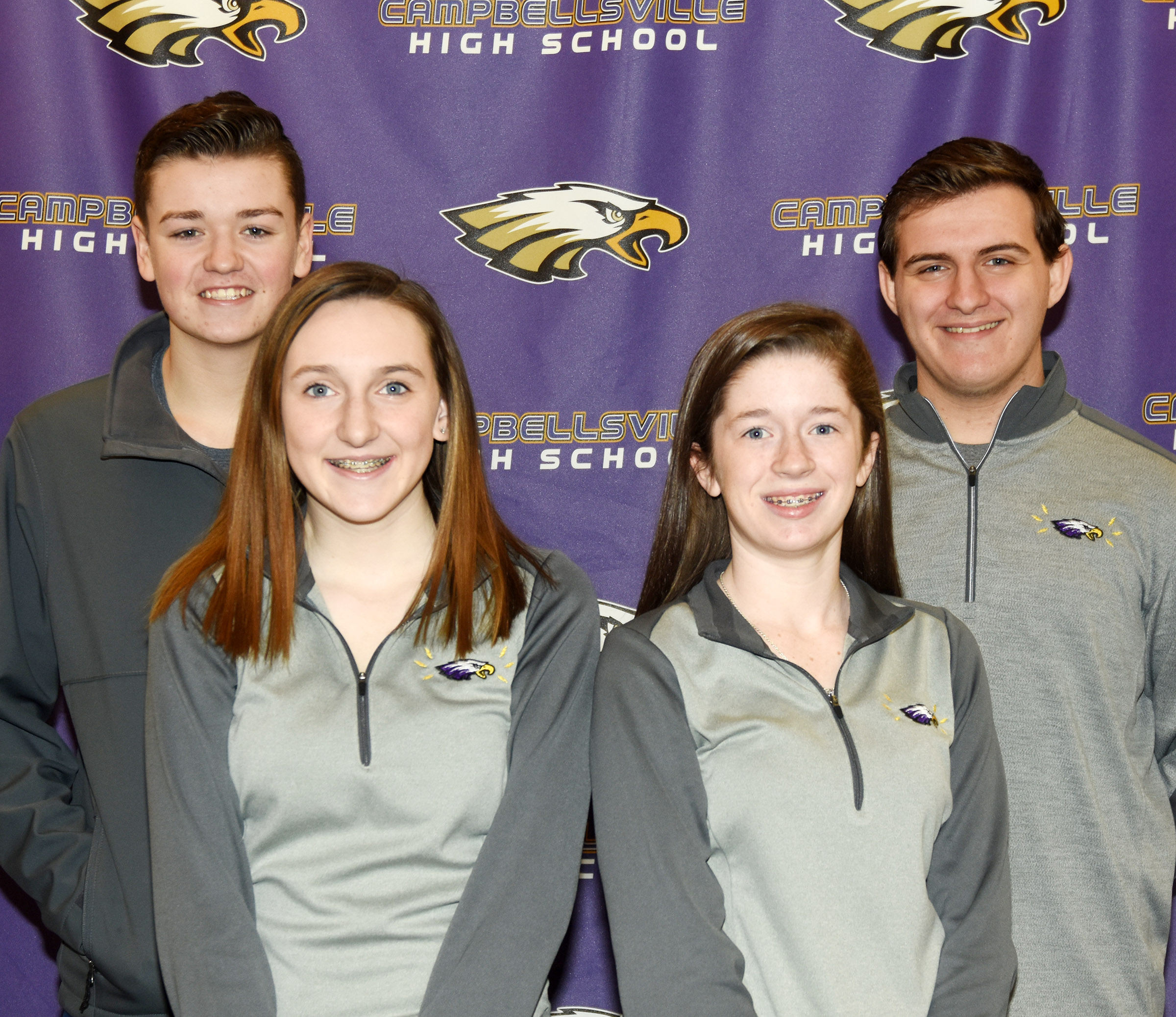 CHS News Team members for the 2017-2018 school year are, from left, front, sophomores Zoe McAninch and Gracyne Hash. Back, sophomore Gavin Johnson and senior Austin Fitzgerald.