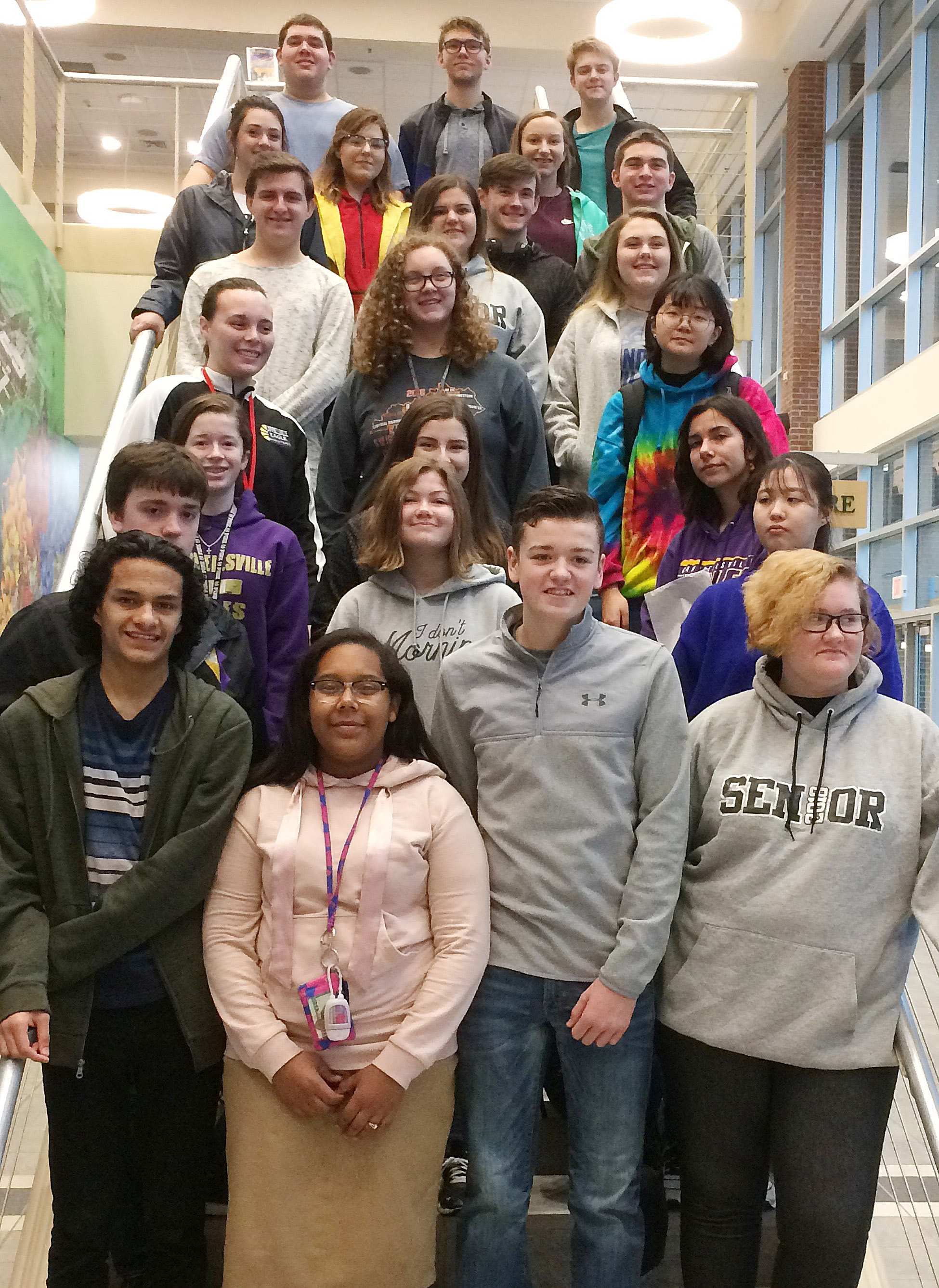 Campbellsville High School students recently took a tour of the Oak Ridge National Laboratory in Tennessee. From left, front, are sophomores Ben Arachi, Zaria Cowan and Gavin Johnson and senior Jasmine Cox. Second row, sophomores Grant Rinehart and Shelby Smith and senior Sydney Jeong. Third row, sophomores Gracyne Hash and Alli Wilson and junior Celeste Hassman. Fourth row, sophomores Katelyn Miller and Emily Rodgers and senior Hye Su Cho. Fifth row, seniors Austin Fitzgerald, Vivian Brown and Haley Fitch. Sixth row, seniors Missy Vanorder, Sara Farmer, Jackson Hunt, Madison Dial and Cass Kidwell. Back, seniors Ryan Wiedewitsch, Christan Berry and Alex Doss.