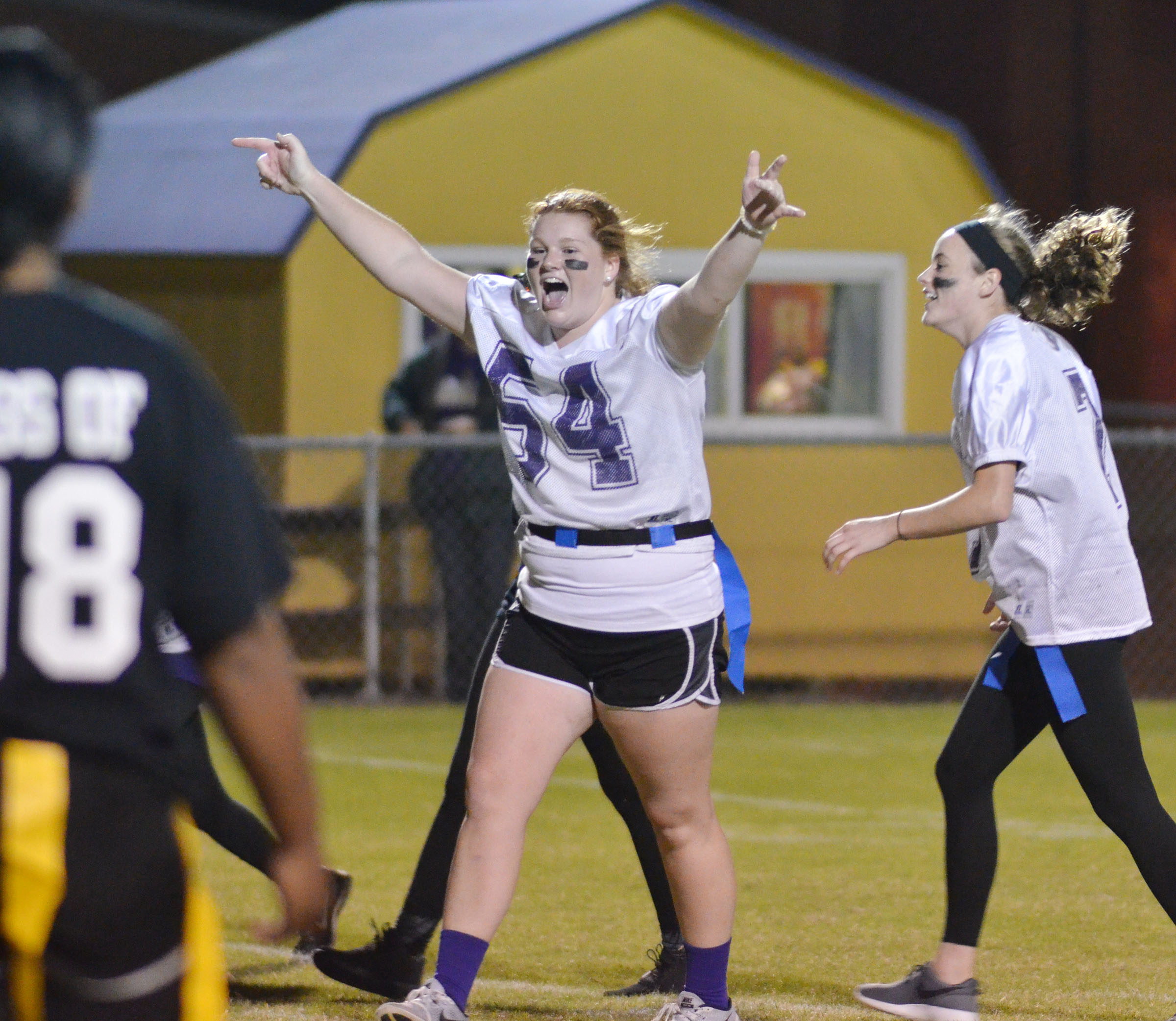 CHS senior Mallory Haley cheers when her team wins the powder puff championship.