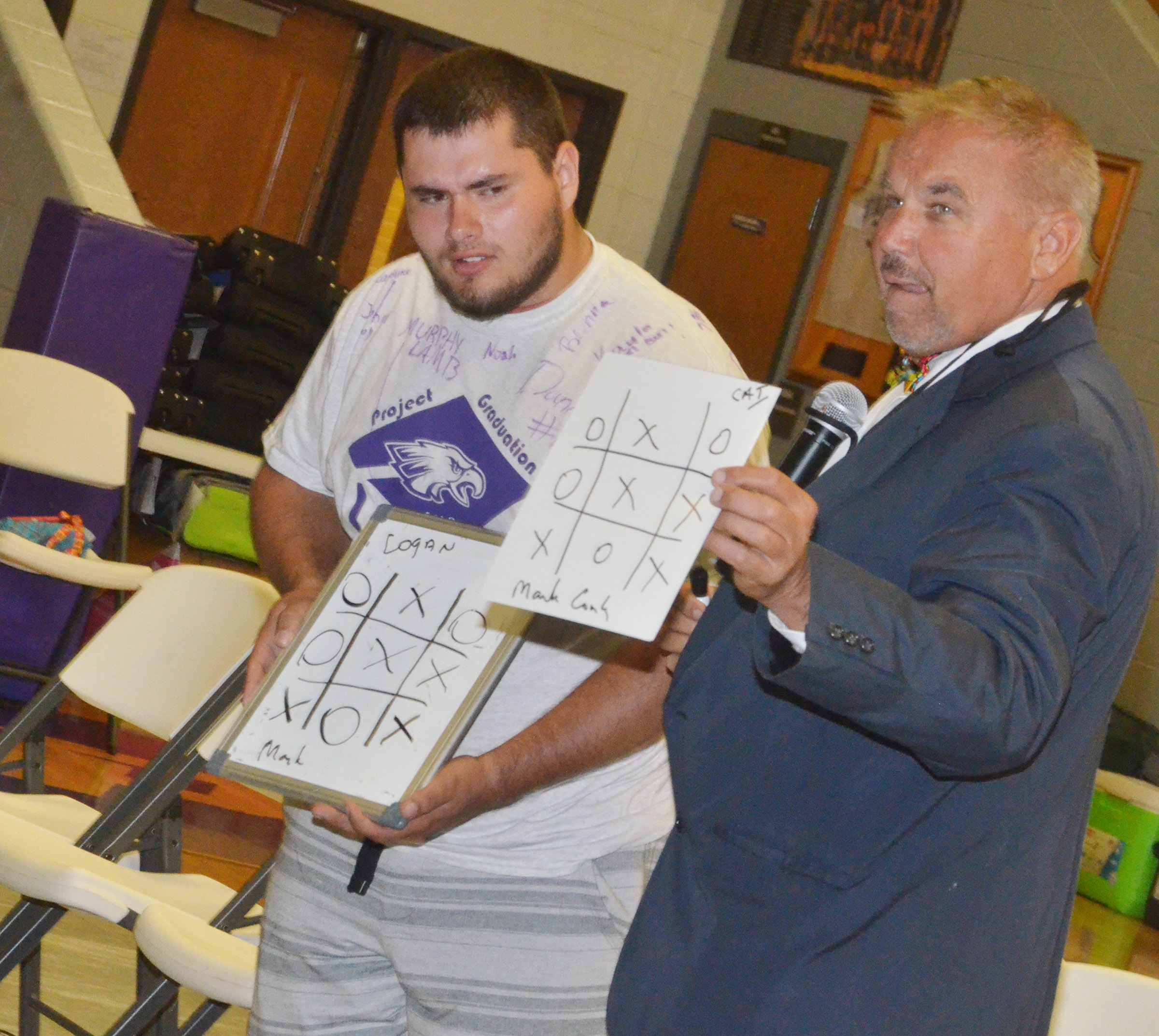 CHS senior Logan Brown isn't sure how Mark Comley wrote their tic-tac-toe game hours before they played.