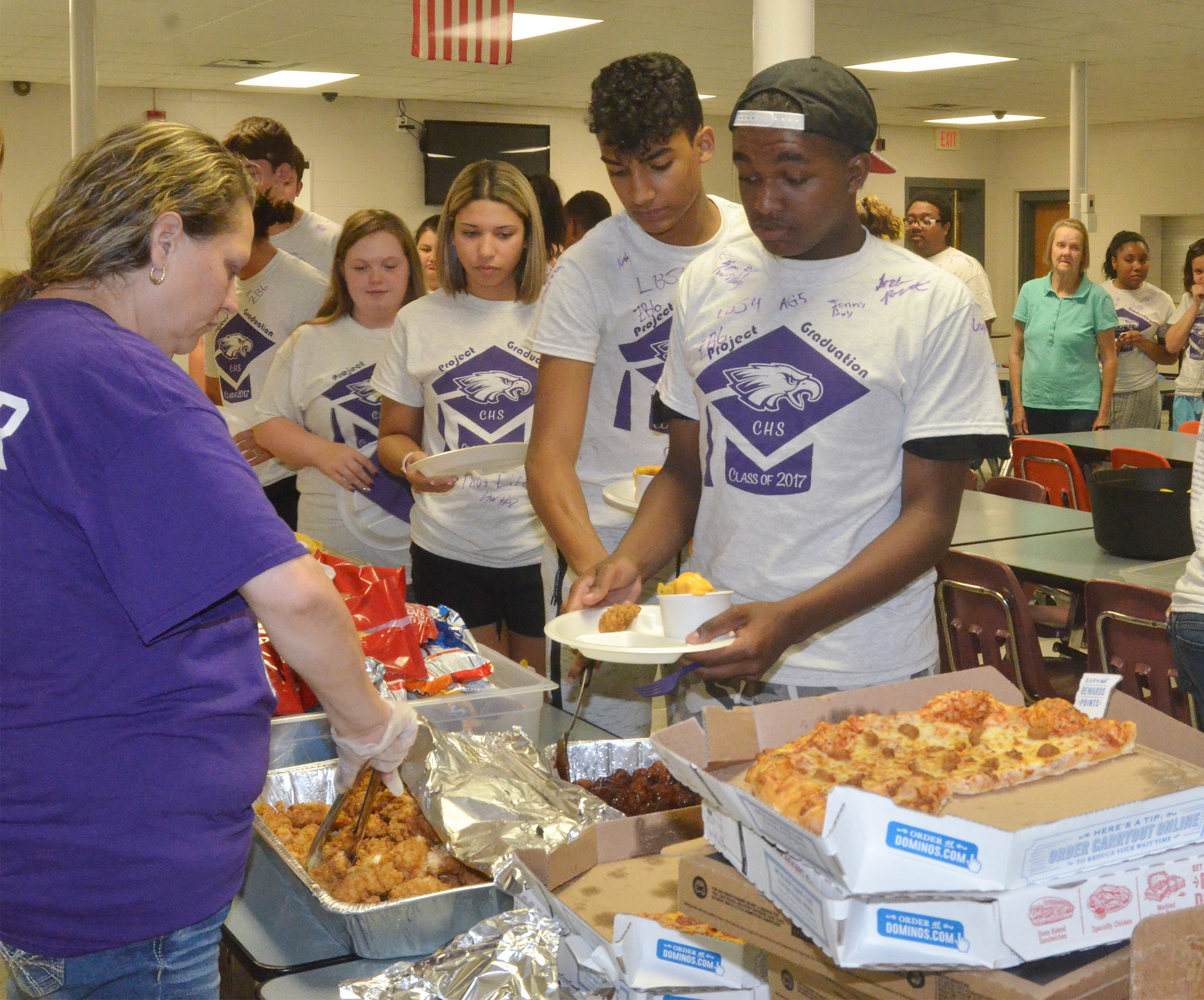 CHS seniors enjoy food donated from local restaurants.