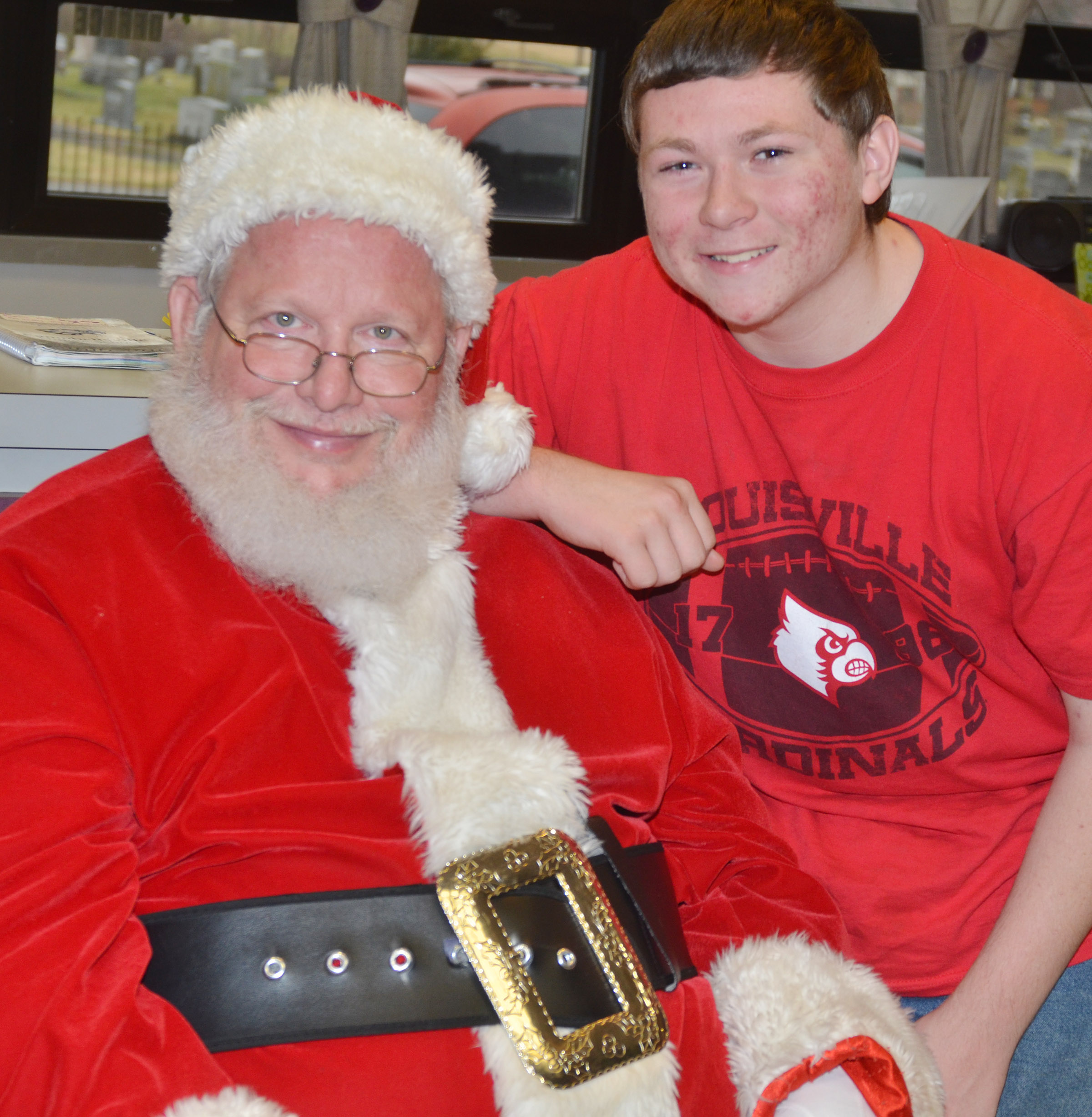 CHS freshman Tyler Frazier smiles for a photo with Santa.