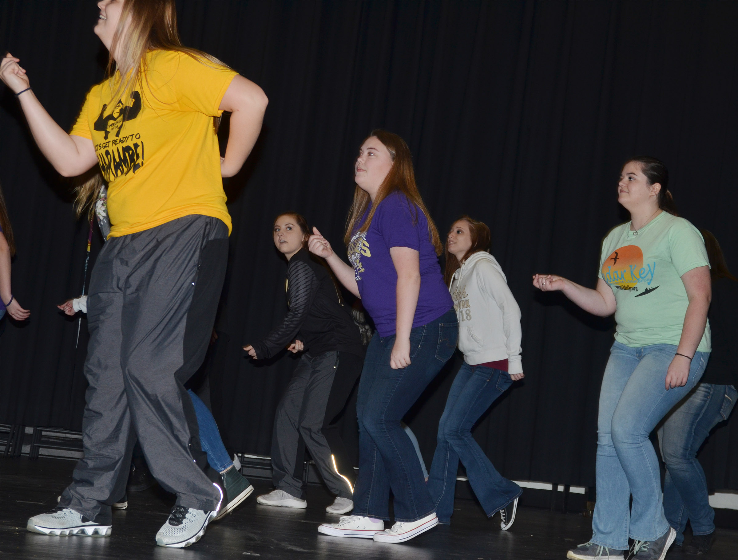 From left, CHS senior Brenna Wethington, sophomore Reagan Knight and juniors Haley Fitch, Jasmine Coomer and Vivian Brown dance during a recent show choir rehearsal.
