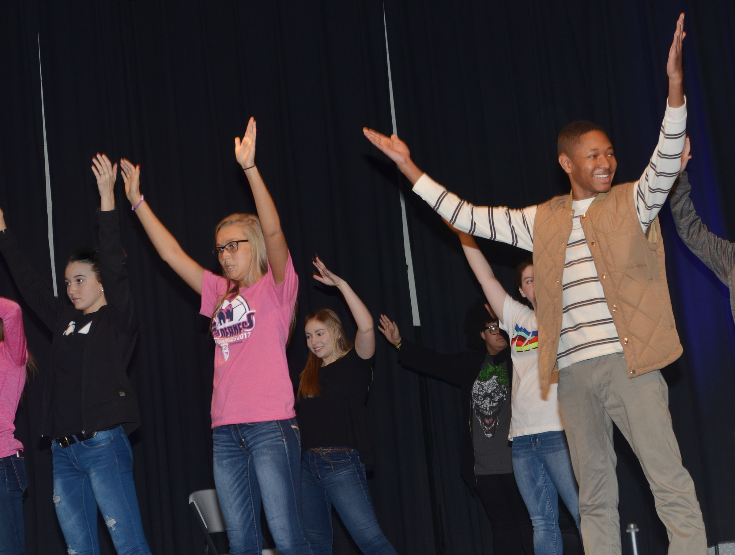 From left, CHS sophomores Salena Ritchie and Tatem Wiseman, freshman Bailey Smith and senior Jaleel Cowan dance during a recent show choir rehearsal.