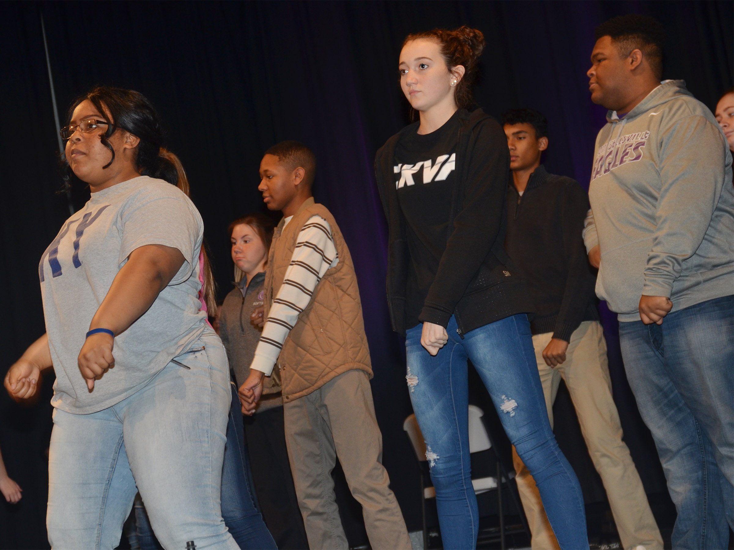 From left, CHS show choir members Natalie Caldwell, a sophomore, senior Jaleel Cowan and sophomores Salena Ritchie and Jeremiah Jackson dance during a recent rehearsal.