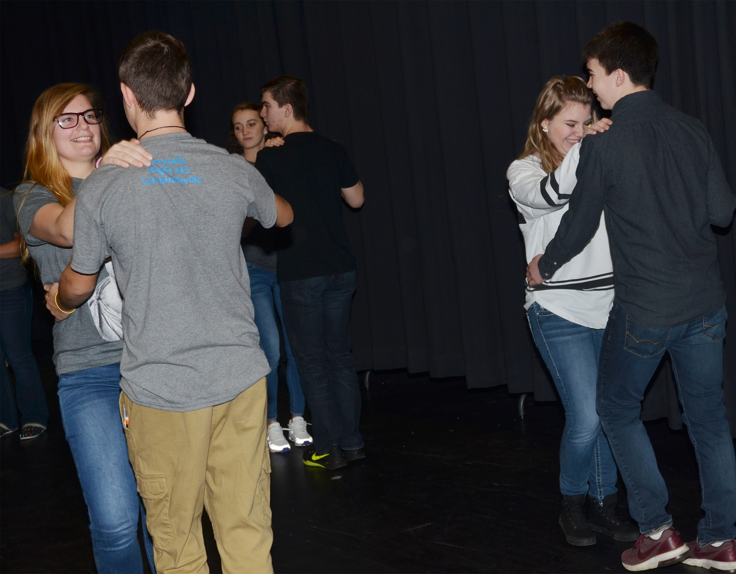 CHS juniors Tiffany Kane and Austin Fitzgerald, at left, and sophomore Hayley Stapleton dances with freshman Cole Kidwell during a show choir rehearsal.
