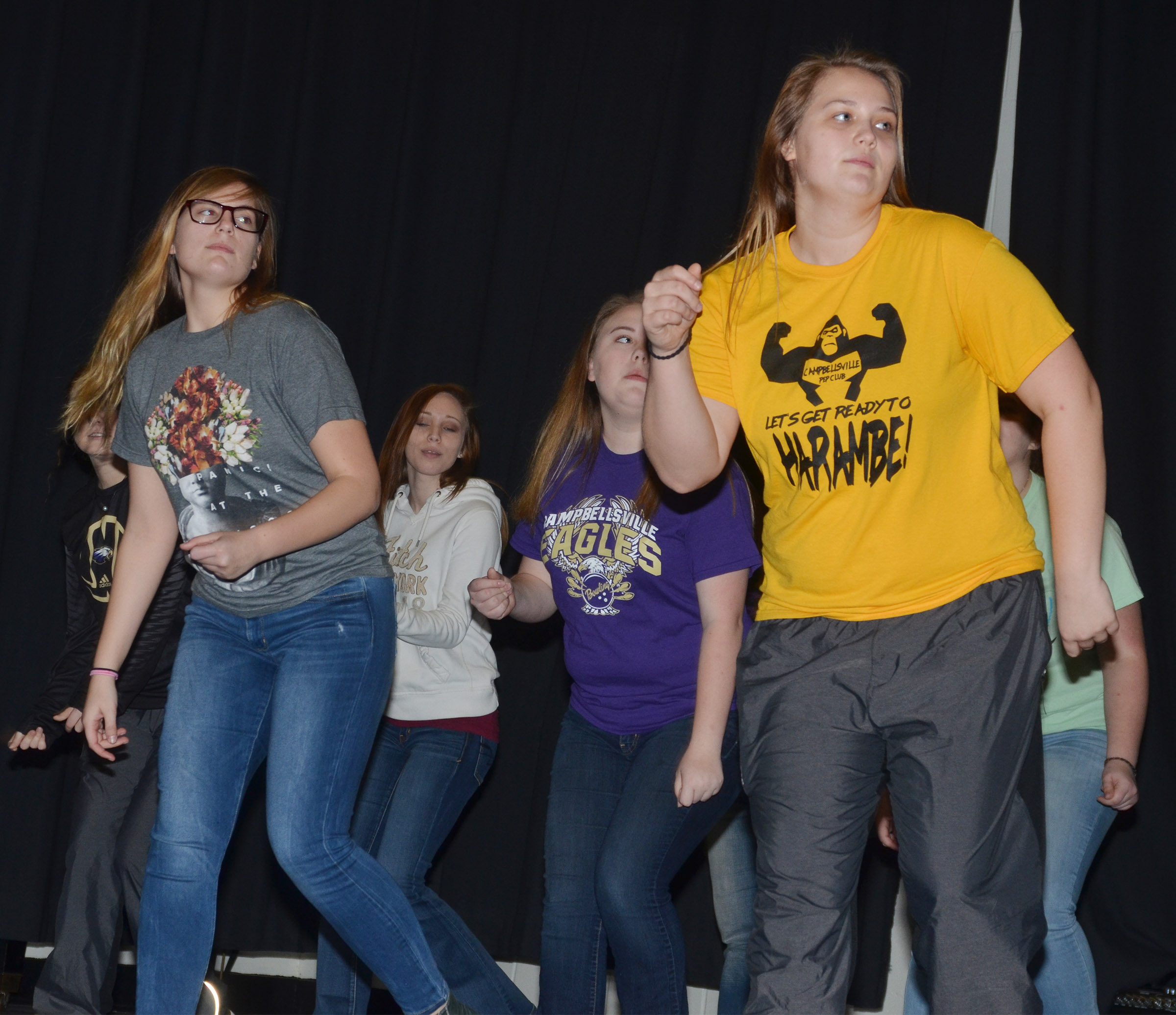 From left, CHS juniors Tiffany Kane, Jasmine Coomer and Haley Fitch and senior Brenna Wethington dance during a recent show choir rehearsal.