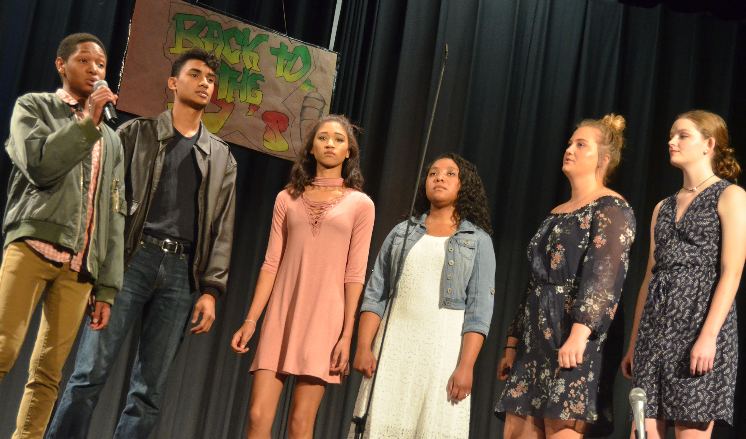 From left, CHS seniors Jaleel Cowan, Daniel Silva, Alexis Shears, Kayla Atkinson, Brenna Wethington and Blair Lamb perform together.