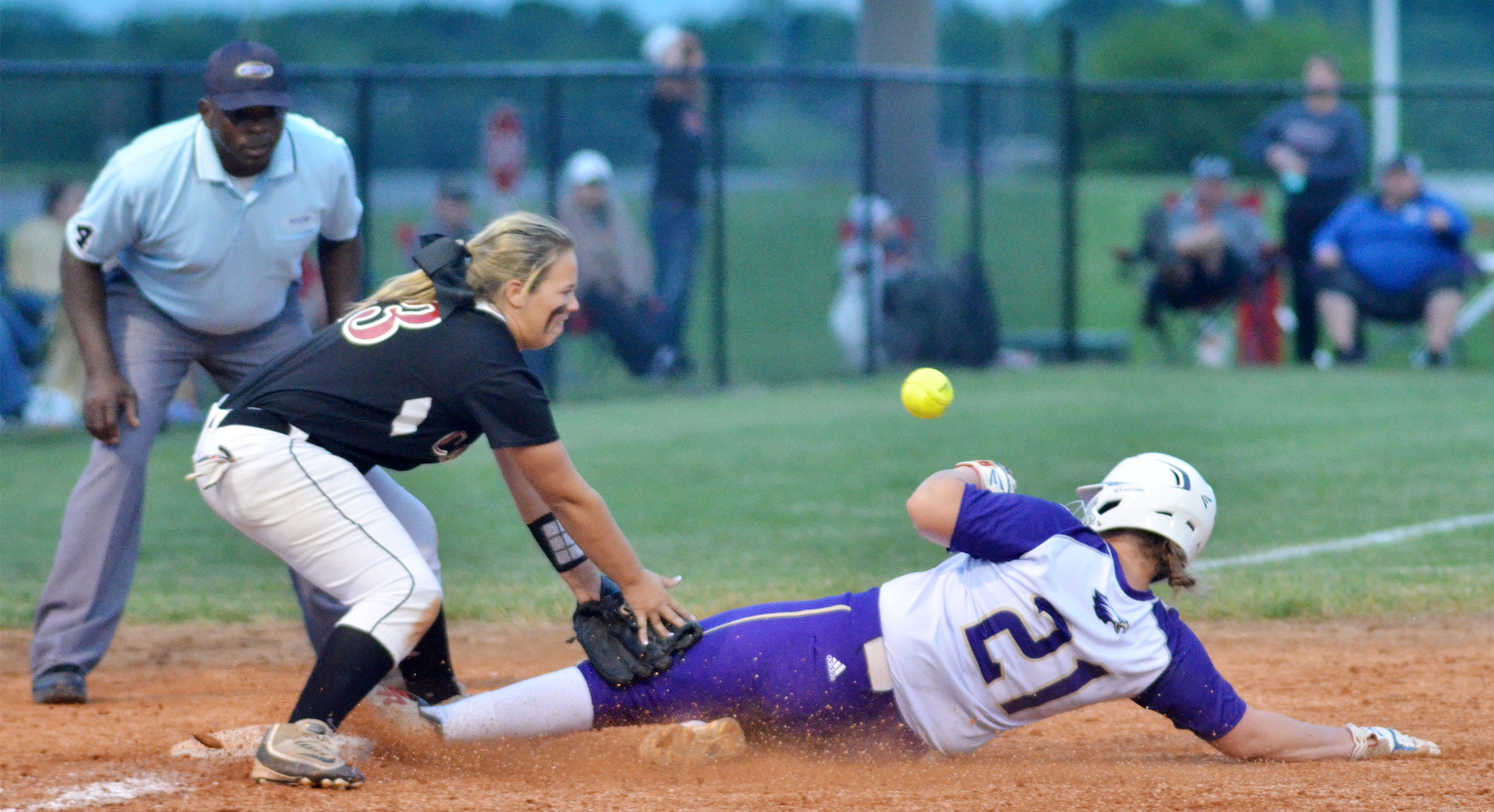 CHS senior Brenna Wethington is safe at third.