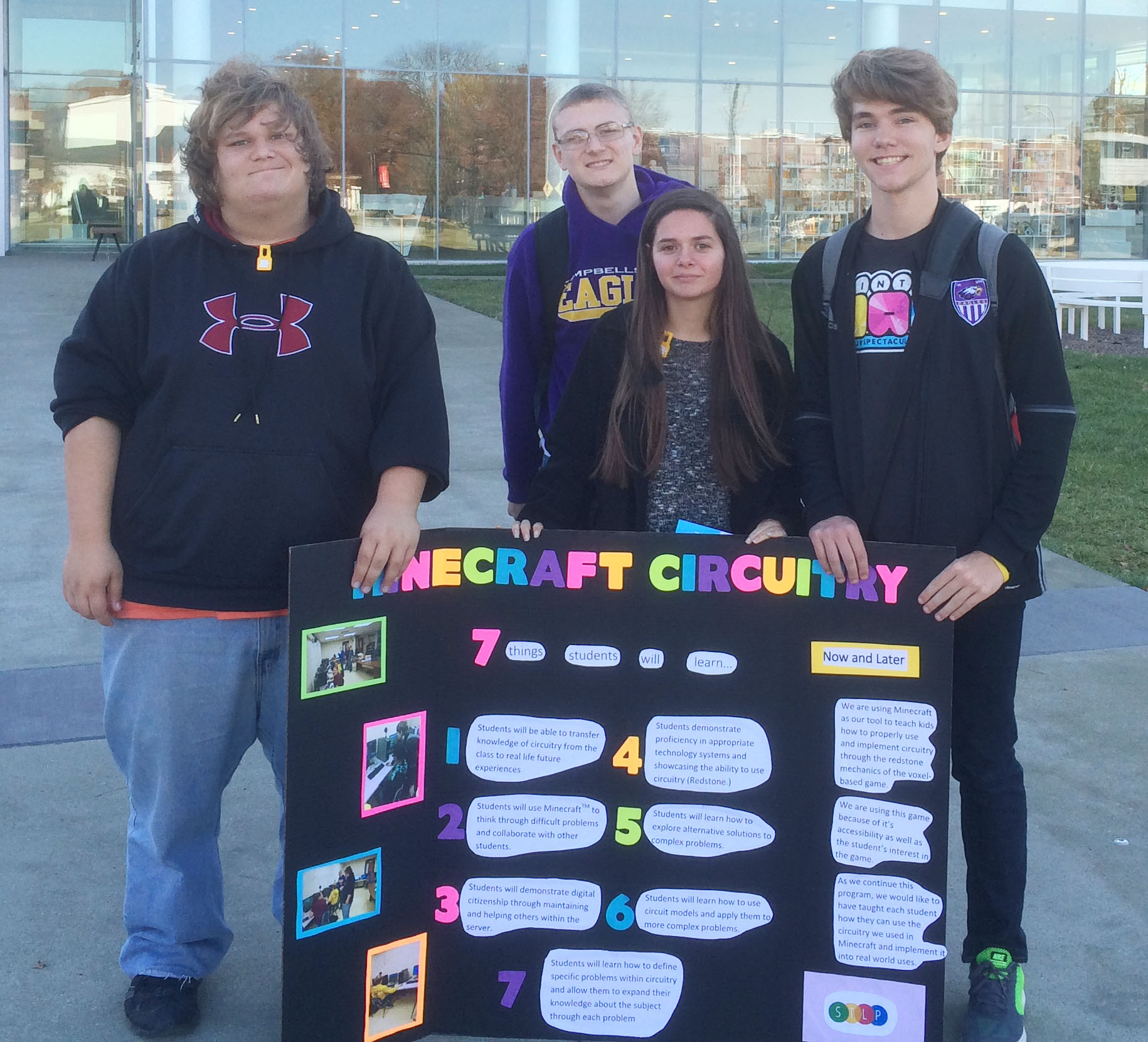 In the Showcase Project category, for the Minecraft Circuitry competition, the CHS team advanced to compete again. The team includes, from left, sophomore Randy Harris, seniors Ben Rafferty and Shauna Jones and junior Christian Berry.