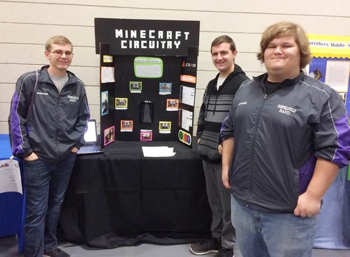 In the Showcase Project category, for the Minecraft Circuitry competition, the CHS team advanced to compete again at state. The team includes, from left, junior Brandon Greer, senior Austin Fitzgerald and junior Randy Harris.