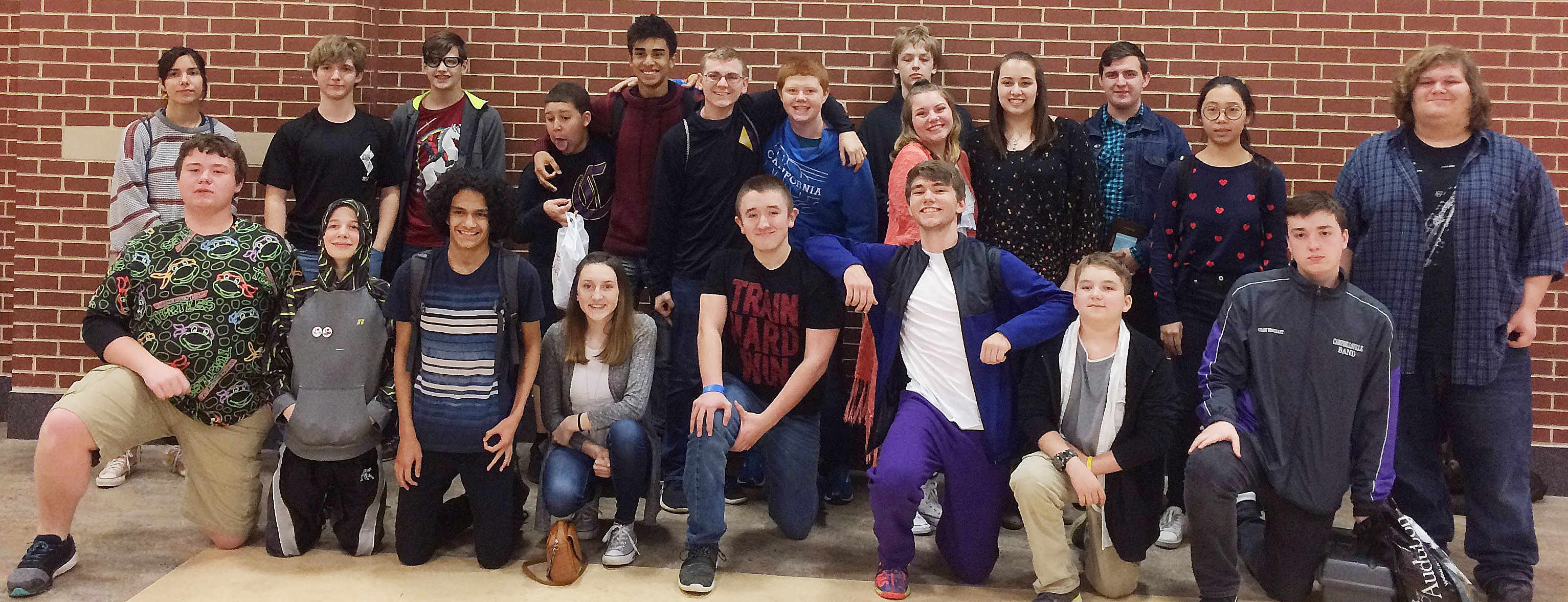 Campbellsville High School students brought home several top awards at the state STLP competition on Thursday, March 29. From left, front, are sophomore Conner Riley, Campbellsville Middle School sixth-grader Thomas Lucas, junior Ben Arachi, sophomore Zoe McAninch, freshman Zachary Shaw, senior Christian Berry, sixth-grader Nathan McFarland and sophomore Grant Rinehart. Back, junior Celeste Hassman, sophomore Tristin Lopez, sixth-grader Dalton Morris, seventh-grader Ezekiel Bell, sophomore David Silva, junior Brandon Greer, freshman Colin Harris, sixth-grader Jacob Releford, juniors Hayley Stapleton and Elizabeth Sullivan, senior Austin Fitzgerald and juniors Annie Lee and Randy Harris.
