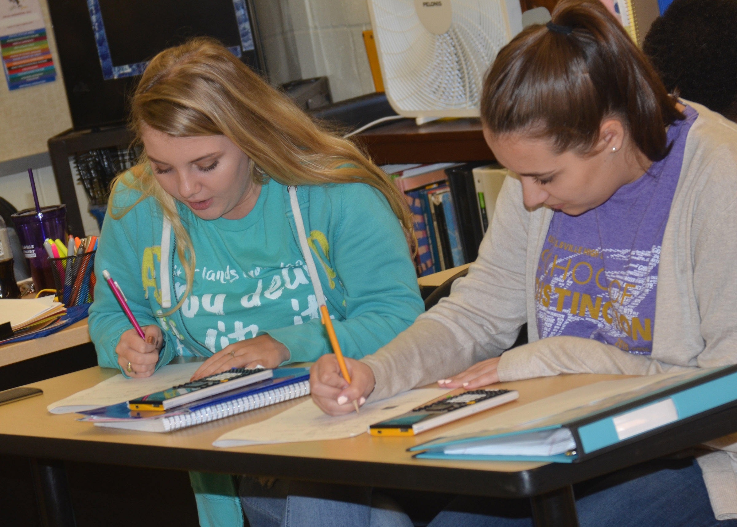 CHS juniors Hayley Stapleton, at left, and Elizabeth Sullivan complete some math problems.