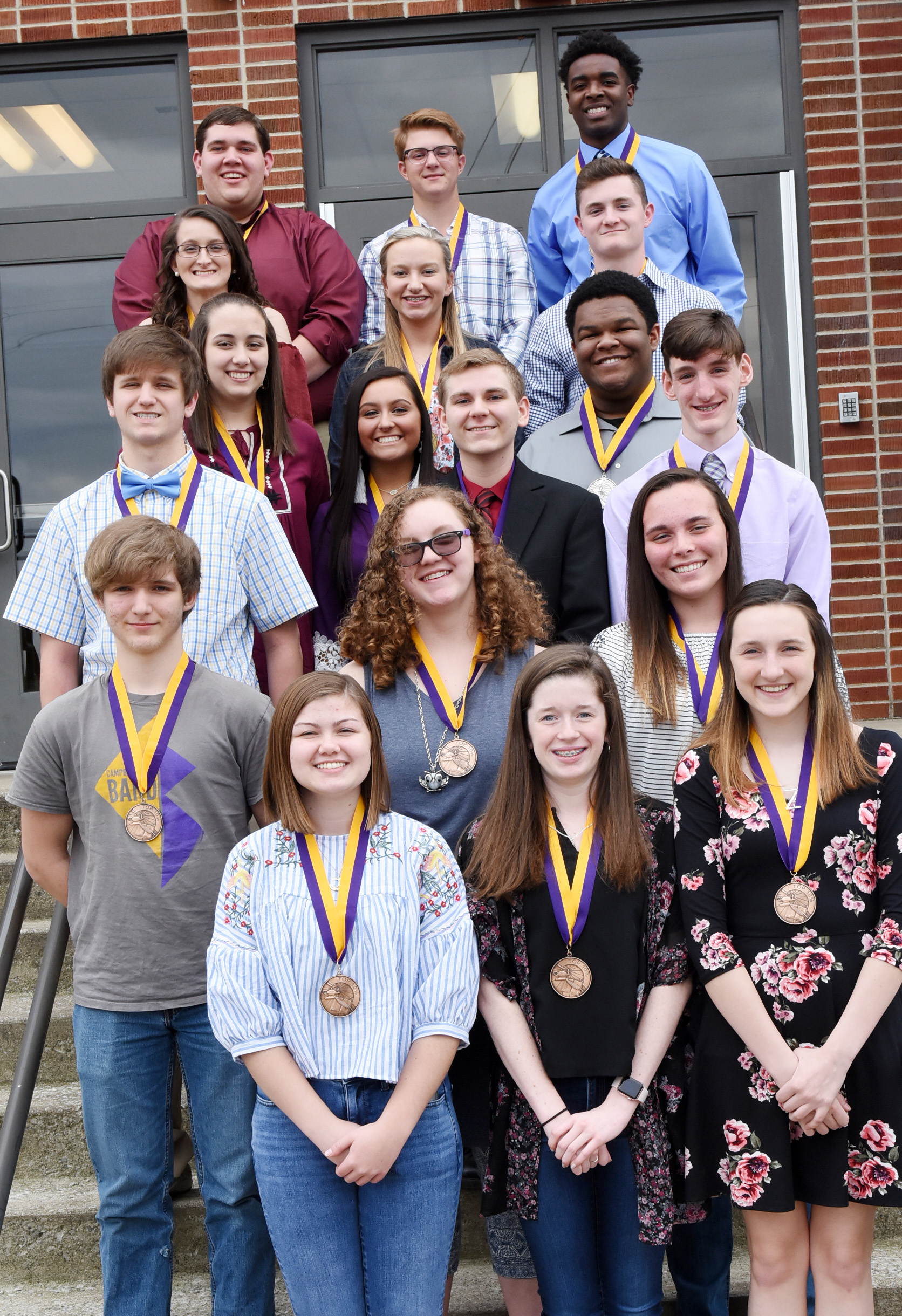 CHS students honored at this year's Top 10 percent banquet are, from left, front, sophomores Shelby Smith, Gracyne Hash and Zoe McAninch. Second row, sophomores Tristin Lopez, Emily Rodgers and Katelyn Miller. Third row, juniors Myles Murrell, Brandon Greer and Ian McAninch. Fourth row, juniors Elizabeth Sullivan, Reagan Knight and Jeremiah Jackson. Fifth row, seniors Kimberly Harden, Madison Dial and Bryce Richardson. Back, seniors Ryan Wiedewitsch, Alex Doss and Chanson Atkinson. Students who were unable to attend the banquet include sophomores Blake Allen and Conner Riley, junior Ryan Kearney and senior Samuel Kessler.