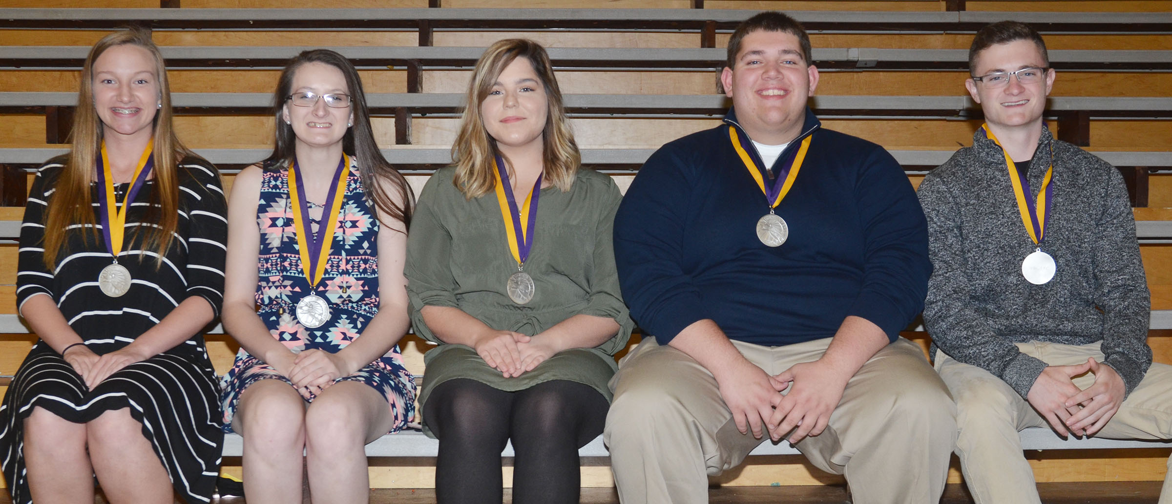 CHS juniors honored at this year's Top 10 percent banquet are, from left, Madison Dial, Kimberly Harden, Sara Farmer, Ryan Wiedewitsch and Bryce Richardson. Absent are Alex Doss and Samuel Kessler.
