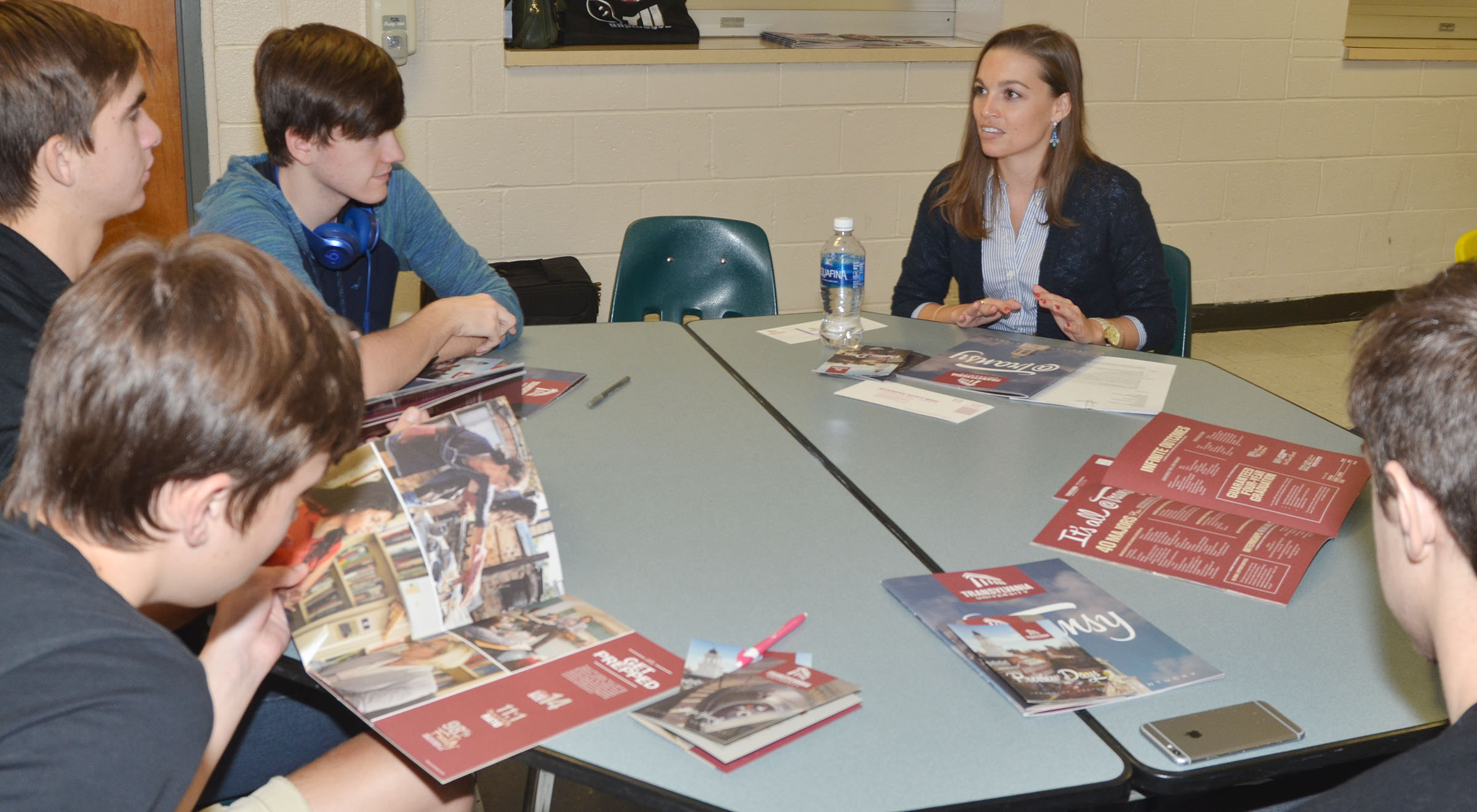 Admissions counselor Bretlyn Reese talks to CHS students about attending Transylvania University.