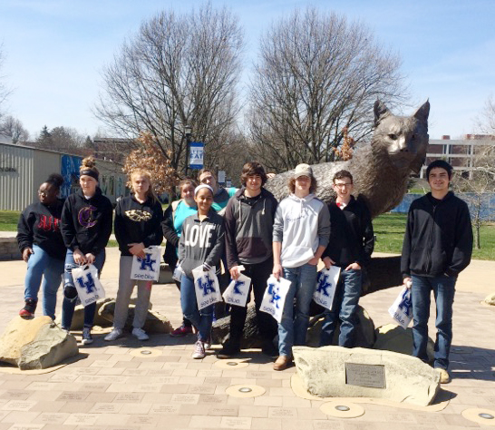 Campbellsville High School students recently took a tour of the University of Kentucky. From left are sophomore Ashalique Adams, freshmen Catlyn Clausen and Samantha Underwood, junior Amanda Dotson, sophomores Jasmine Coro and Danielle Shimek, juniors Jacob Mattingly and Merick Turner, freshman Jonathan Sparks and junior Seth Tindal.