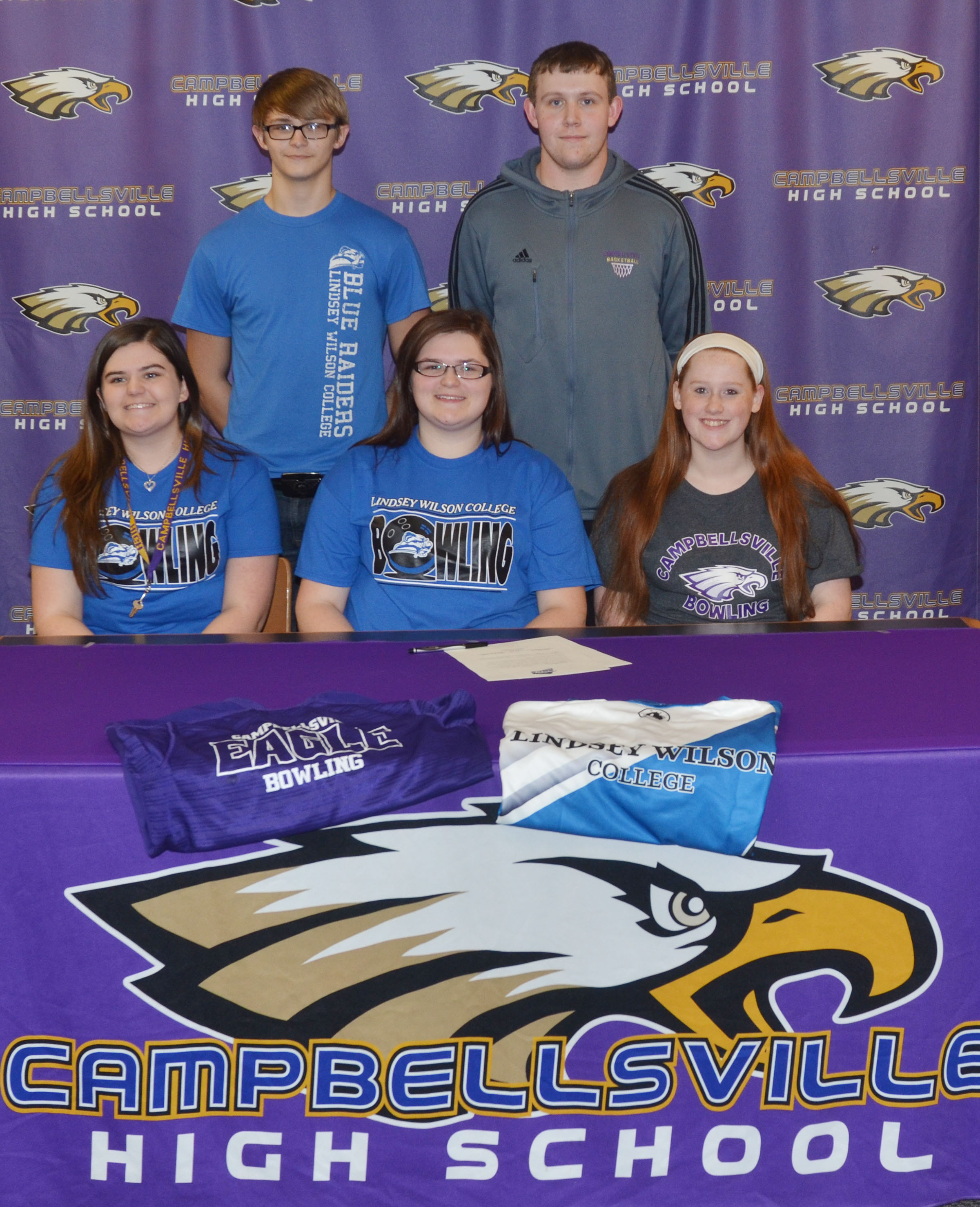 Campbellsville High School senior Vera Brown will continue her academic and bowling career at Lindsey Wilson College in the fall. She officially signed her letter of intent in a special ceremony on Wednesday, Feb. 1. Above, Brown is pictured with some of her CHS bowling teammates. From left, front, are sister and CHS junior Vivian Brown, Vera, and sophomore Gracie Miller. Back, brother and CHS freshman Dalton Brown and senior Jared Brewster.