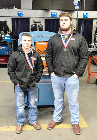CHS junior Lane Bottoms, at right, won first place and sophomore Kelson Griffiths took home second in the SkillsUSA Region 14 welding 1 competition in Somerset, and now advance to state competition.