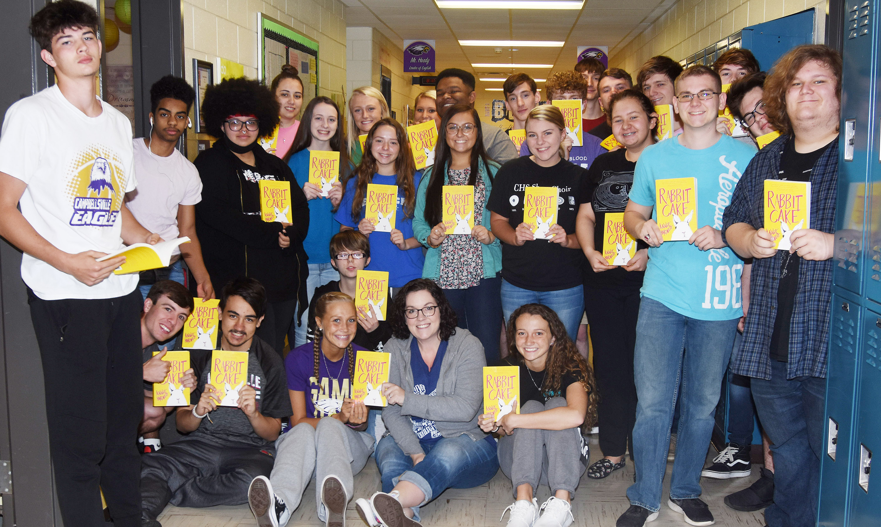 "CHS students in Lindsay Williams's class recently read ""Rabbit Cake"" by Annie Hartnett as part of their English studies. Students met Hartnett via Skype recently to talk about the book."