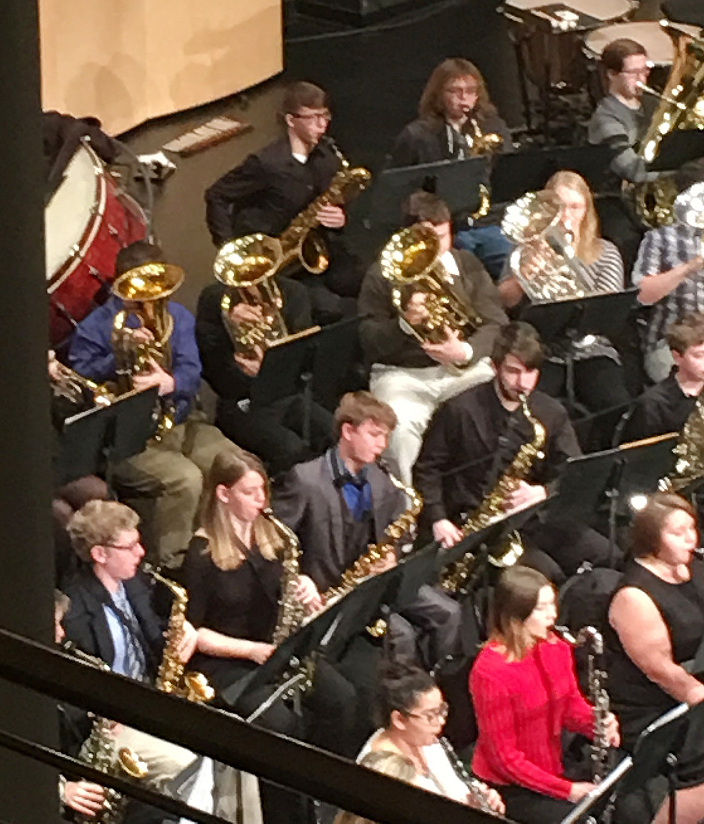 CHS sophomore Conner Riley, third row, third from left, plays baritone at the Western Kentucky University Honors Band Clinic.