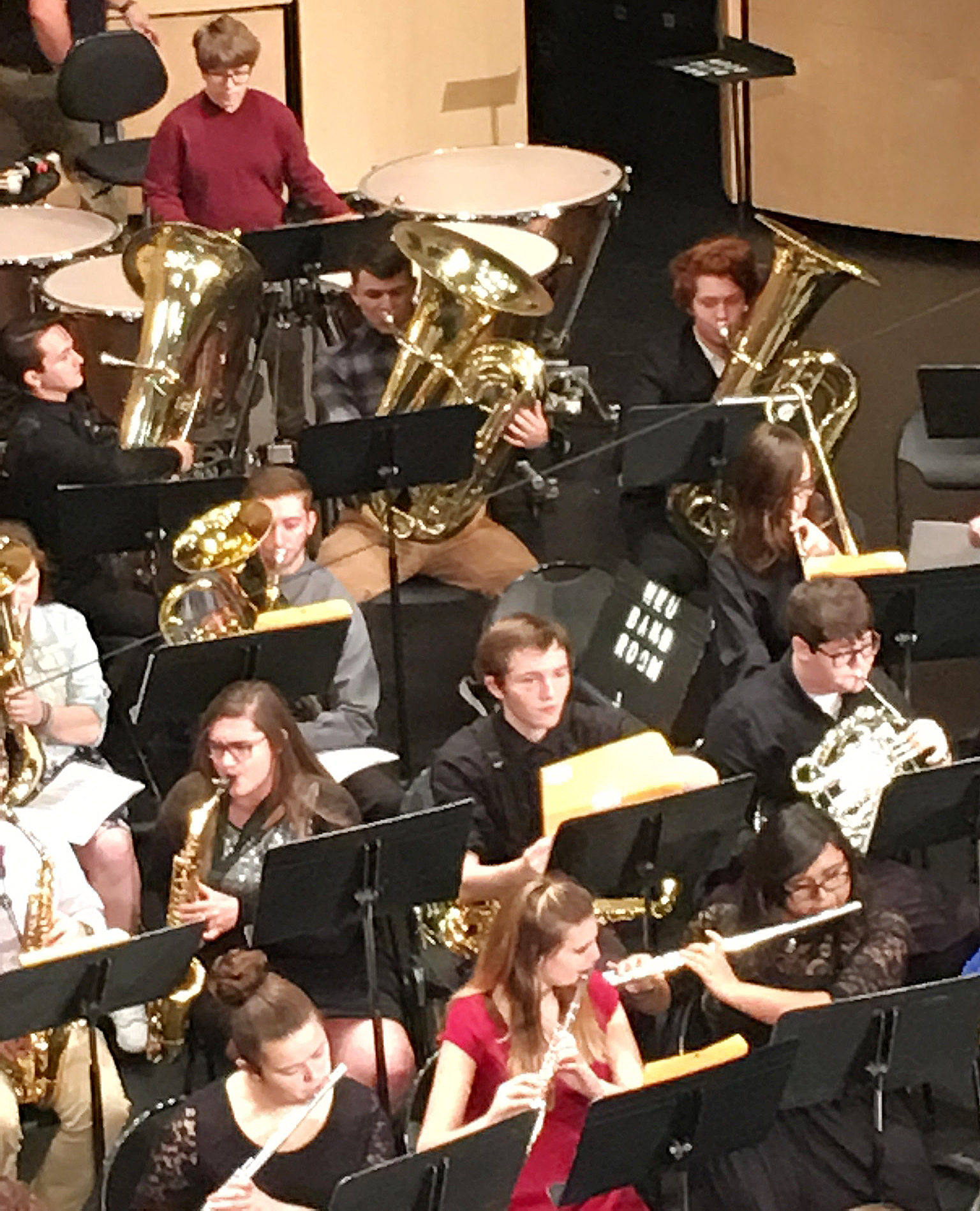 CHS senior Chaz Babbs, fourth row, second from left, plays tuba at the Western Kentucky University Honors Band Clinic.