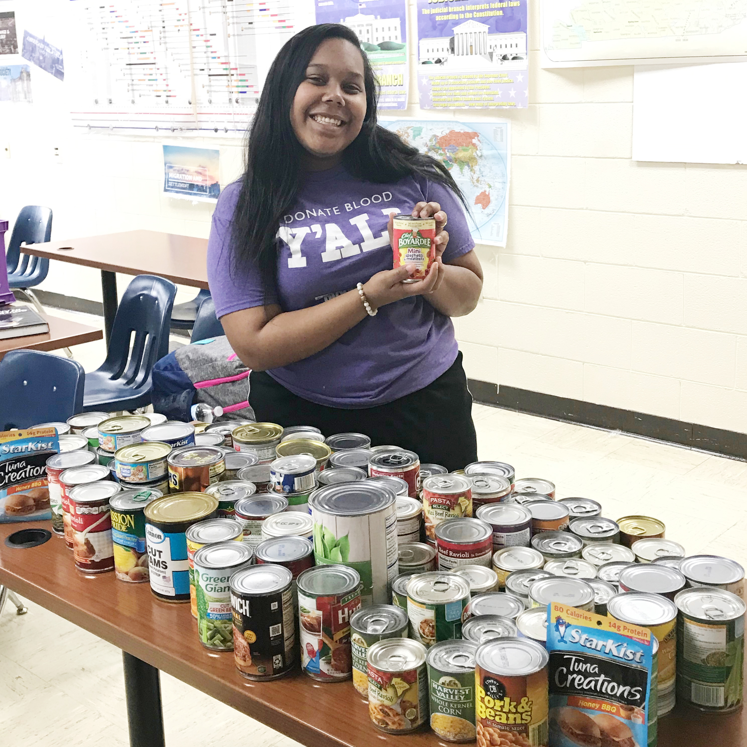 CHS junior Zaria Cowan organized a canned food drive for the Campbellsville High School Y Club. In all, 107 cans were collected and will be donated to the Taylor County Food Pantry.