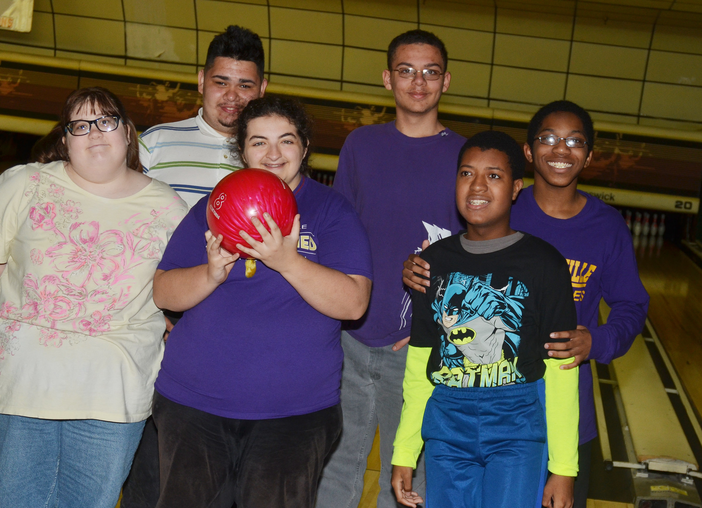 CHS exceptional education students recently had a day of fun at Phillips Lanes Bowling Alley. Pictured are, from left, front, freshman Megan Owens and sophomores Brooke Tucker and Chris Moran. Back, seniors Robert Tungate and Michael Porter and sophomore Travis Nash.