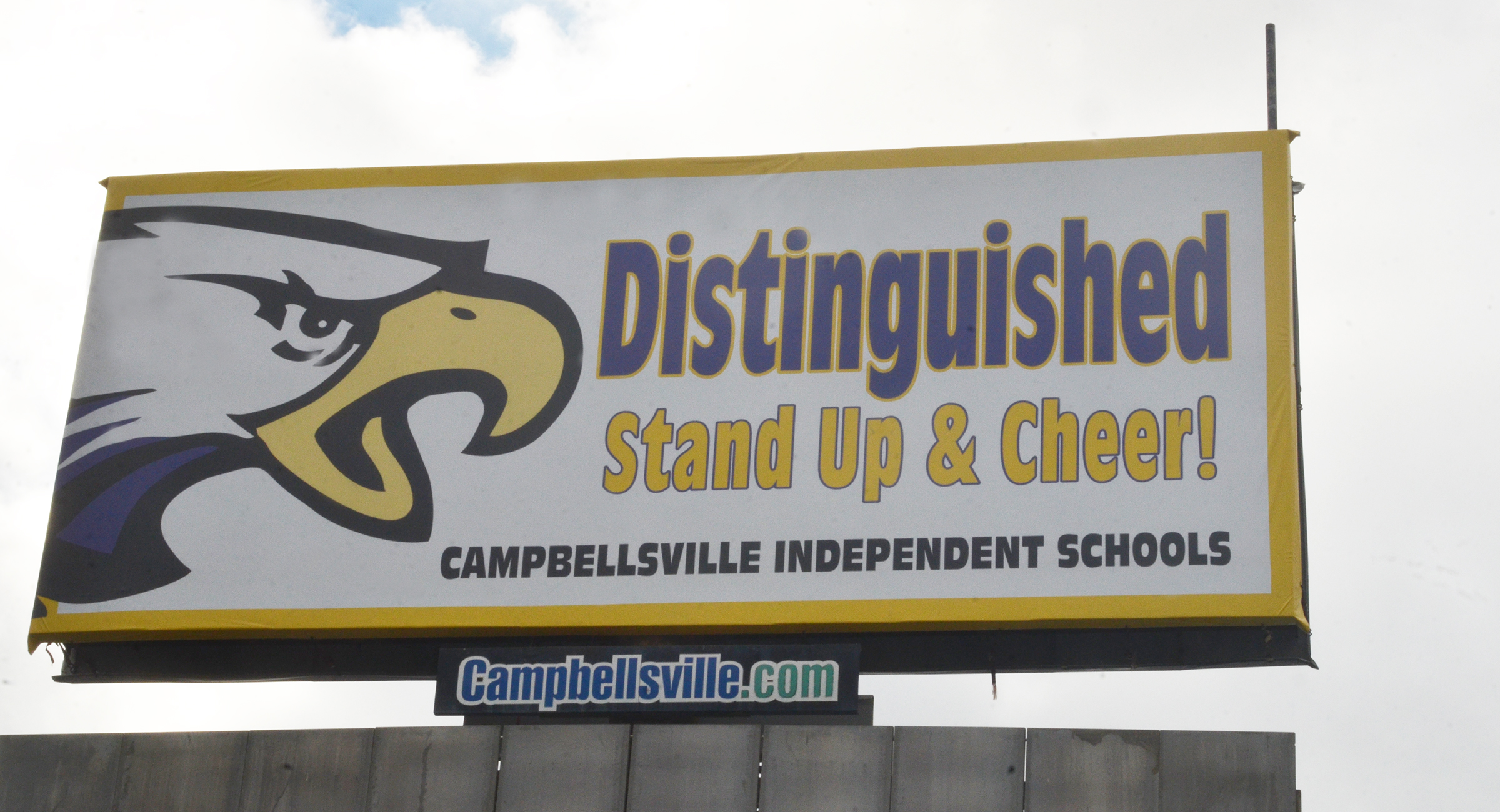 Campbellsville Independent Schools has leased billboard space to tell the public about its outstanding state test scores. The billboard is located across from McDonald's restaurant, and above the Home Town Wireless building.