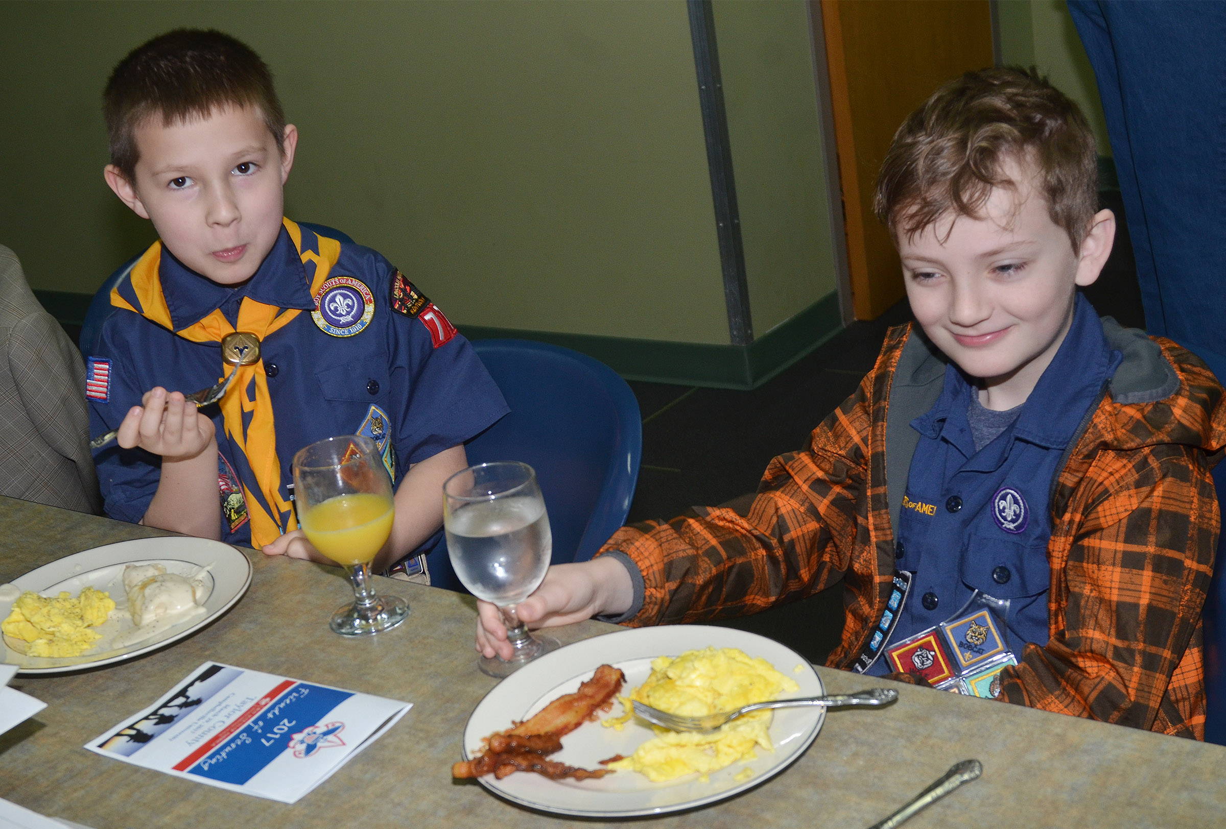Campbellsville Elementary School third-grader Grayson Dooley, at left, and Campbellsville Middle School fourth-grader Noah Leachman enjoy breakfast.