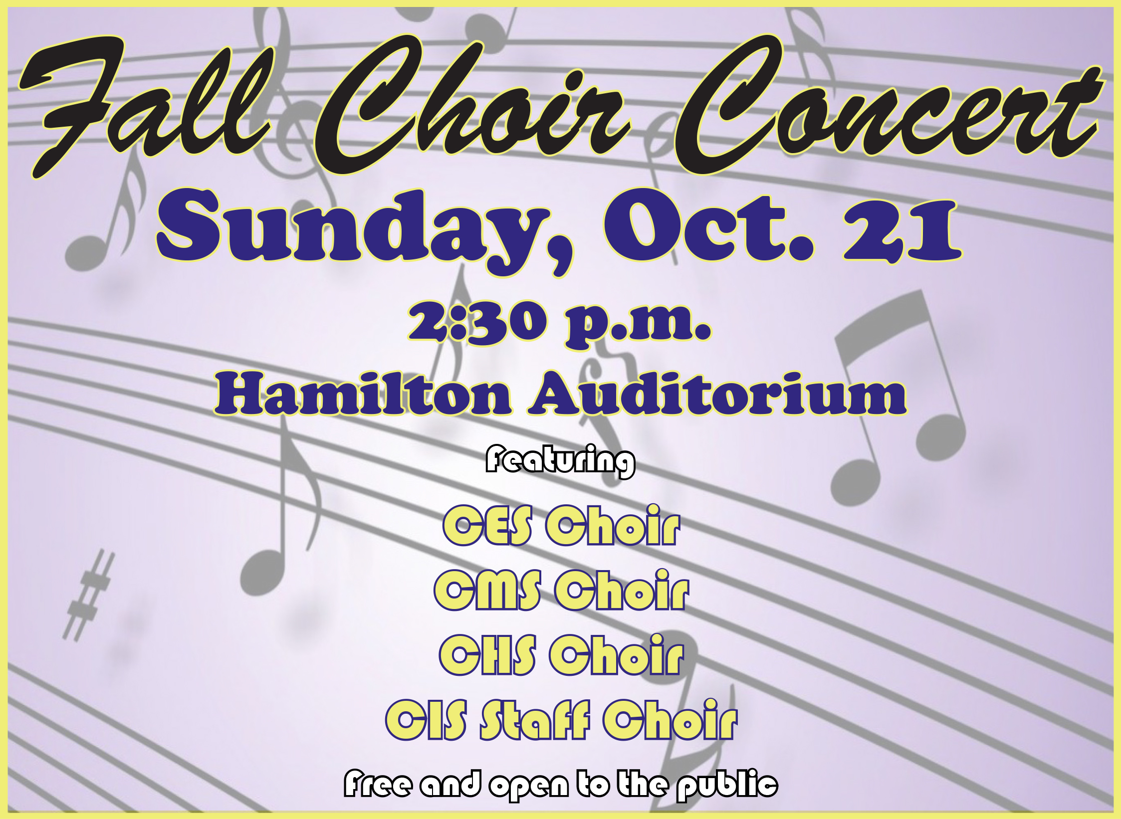 Campbellsville Independent Schools will host a fall choir concert on Sunday, Oct. 21.    Campbellsville elementary, middle and high school choirs will come together for a fall concert.    The concert will feature many different types of music, including pop, spirituals, country and more.    And, for the first time, there will be a performance by a CIS staff choir, which is made up of about 50 members.    Performances will begin at 2:30 p.m. in Hamilton Auditorium on the Campbellsville High School campus.