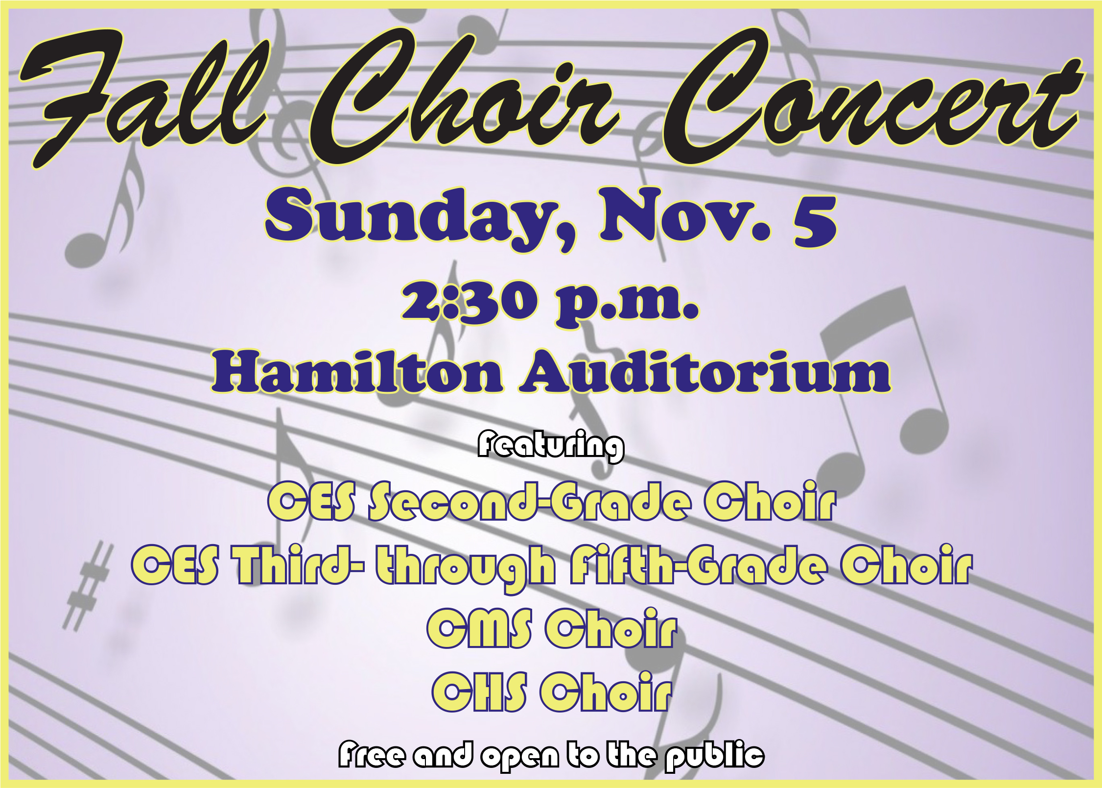Campbellsville elementary, middle and high school choirs will present a fall concert on Sunday, Nov. 5.    The concert will begin at 2:30 p.m. at Hamilton Auditorium on the Campbellsville High School campus.    The performance is free and open to the public.
