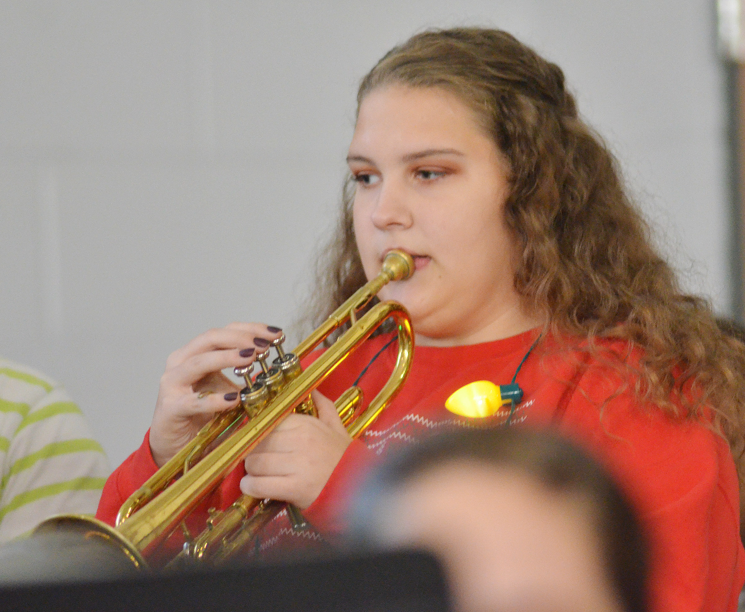 CHS sophomore Abie Angel plays trumpet.
