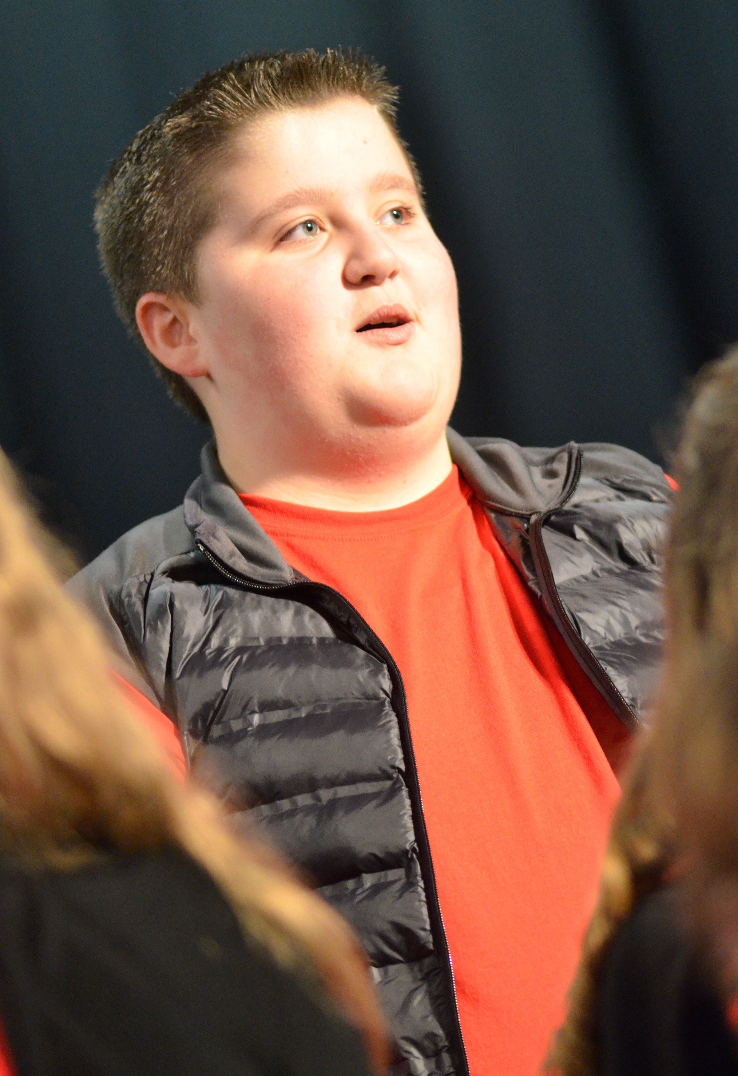 CMS sixth-grader Luke McDonald sings.