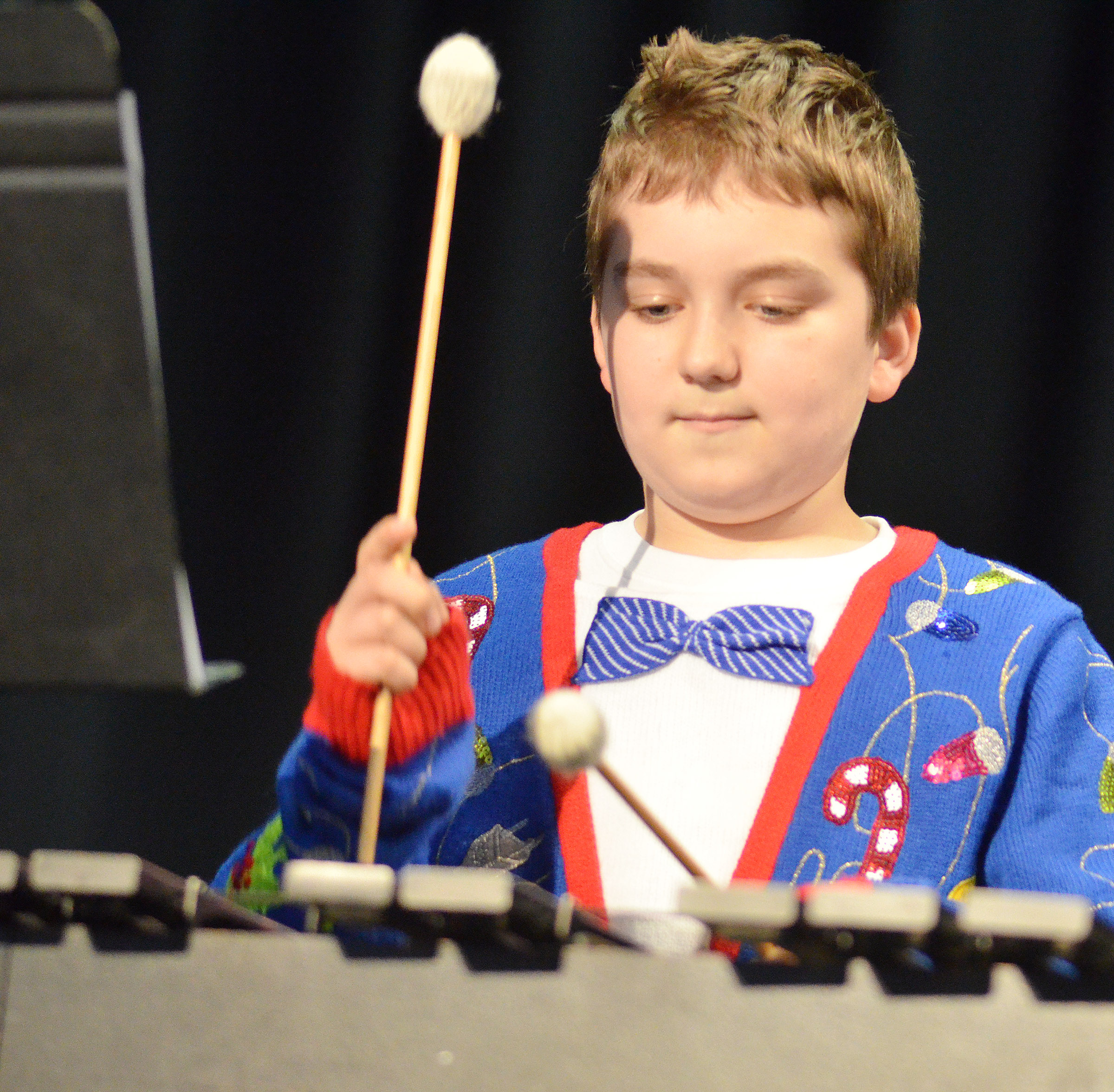 CMS sixth-grader Nathan McFarland plays percussion.