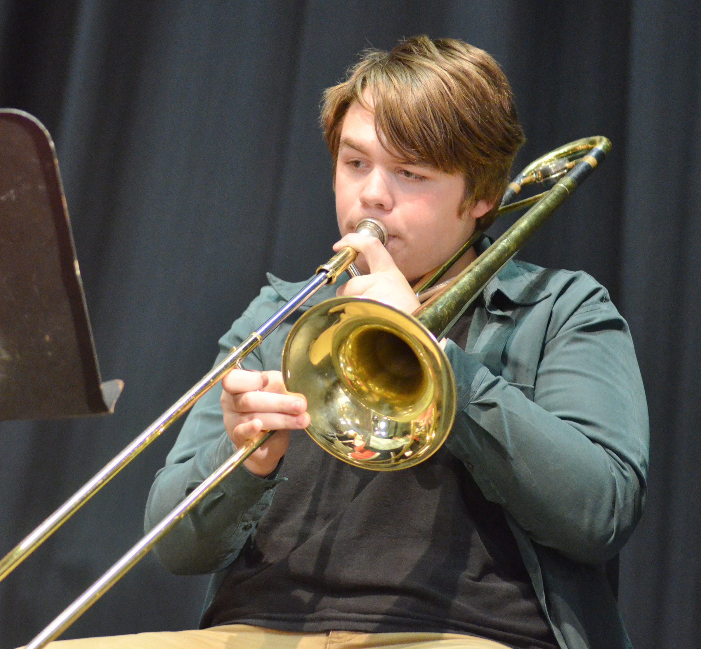 CMS eighth-grader Austin Jeffries plays trombone.