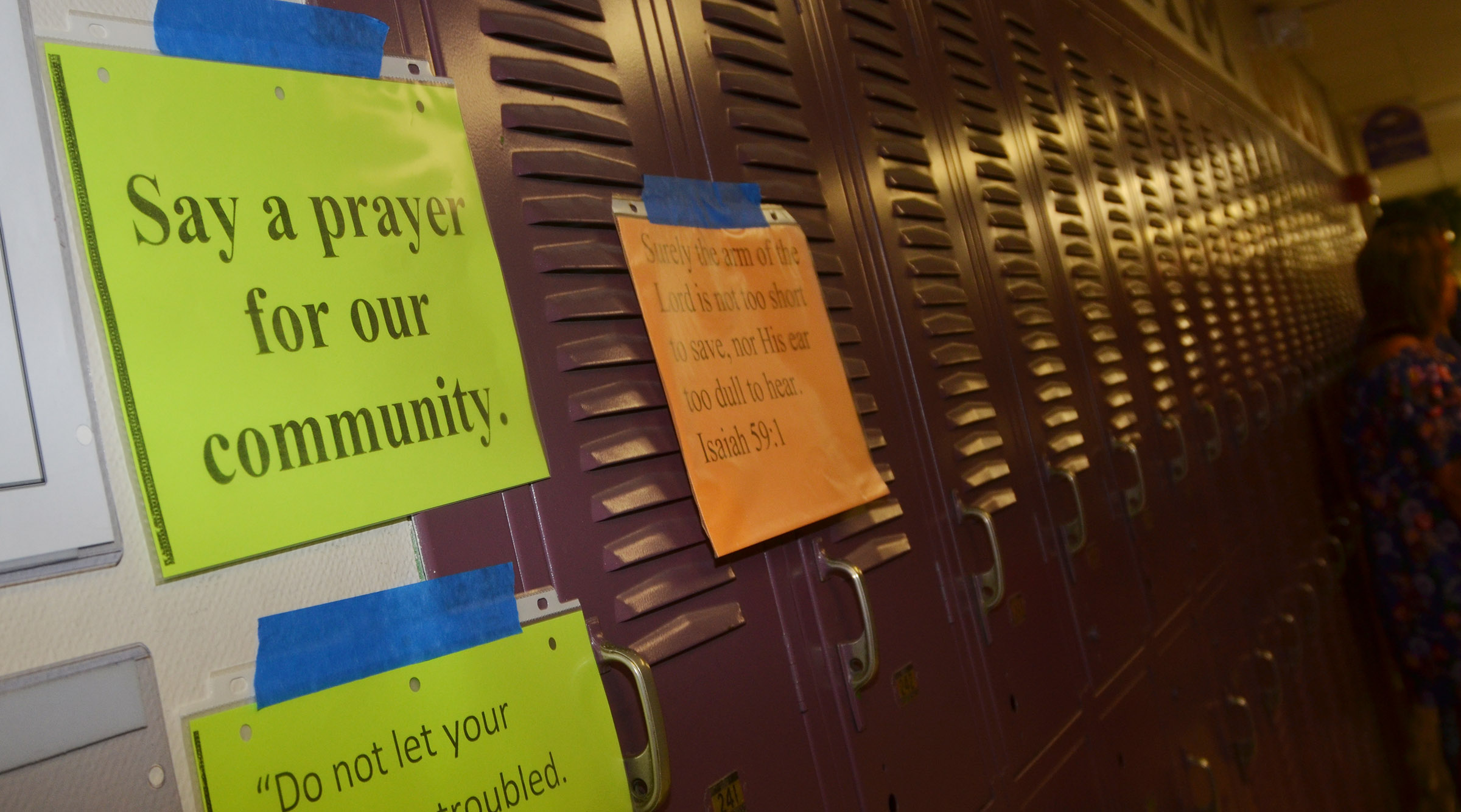 Signs were posted around the CIS campuses encouraging prayer for teachers, students, staff members and others.