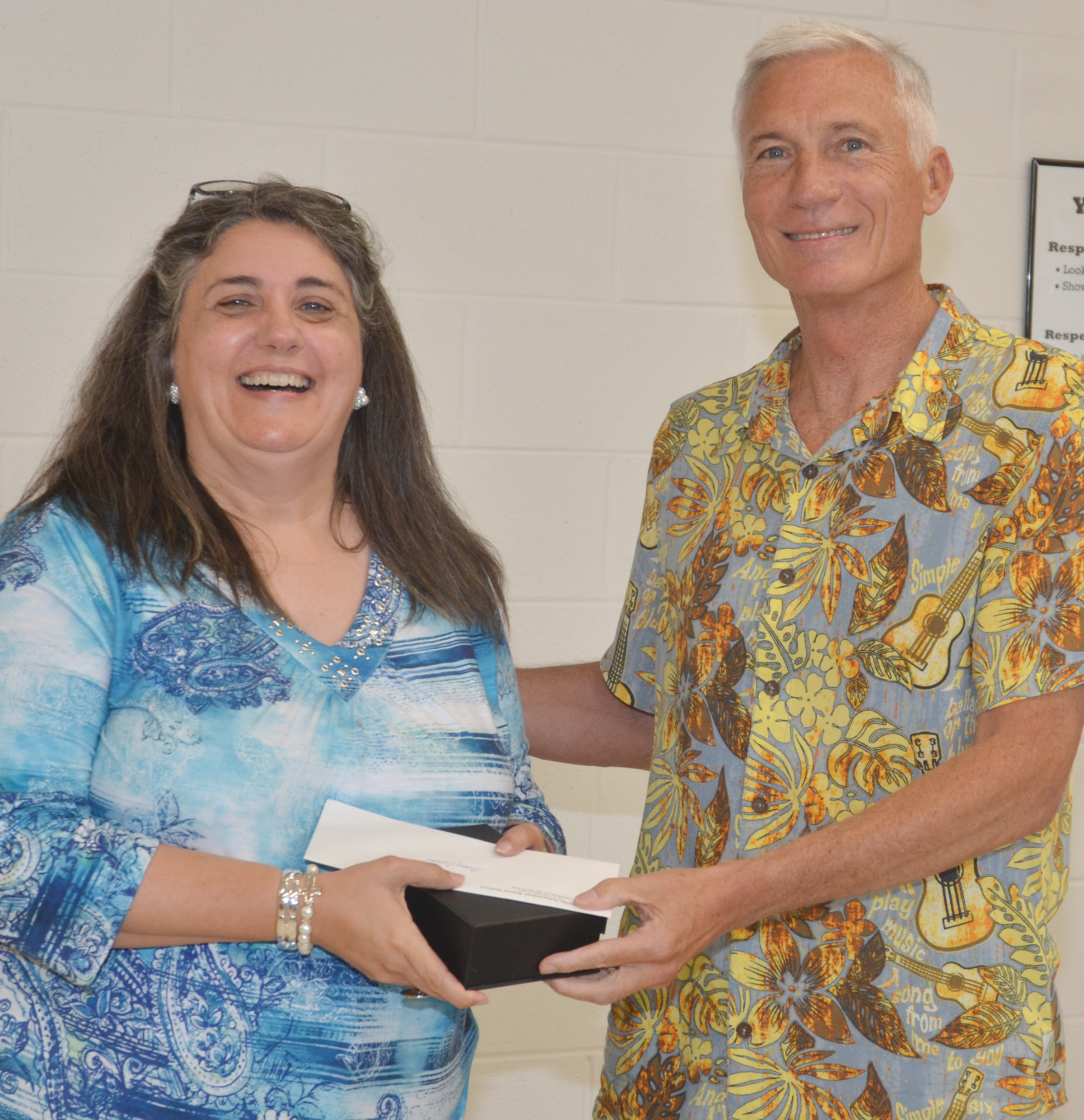 CIS Superintendent Mike Deaton recognizes CES preschool teacher Sherry Cowherd, who is retiring after serving at the District for 17 years. Deaton is also retiring, effective June 30, after working for the District for 10 years.