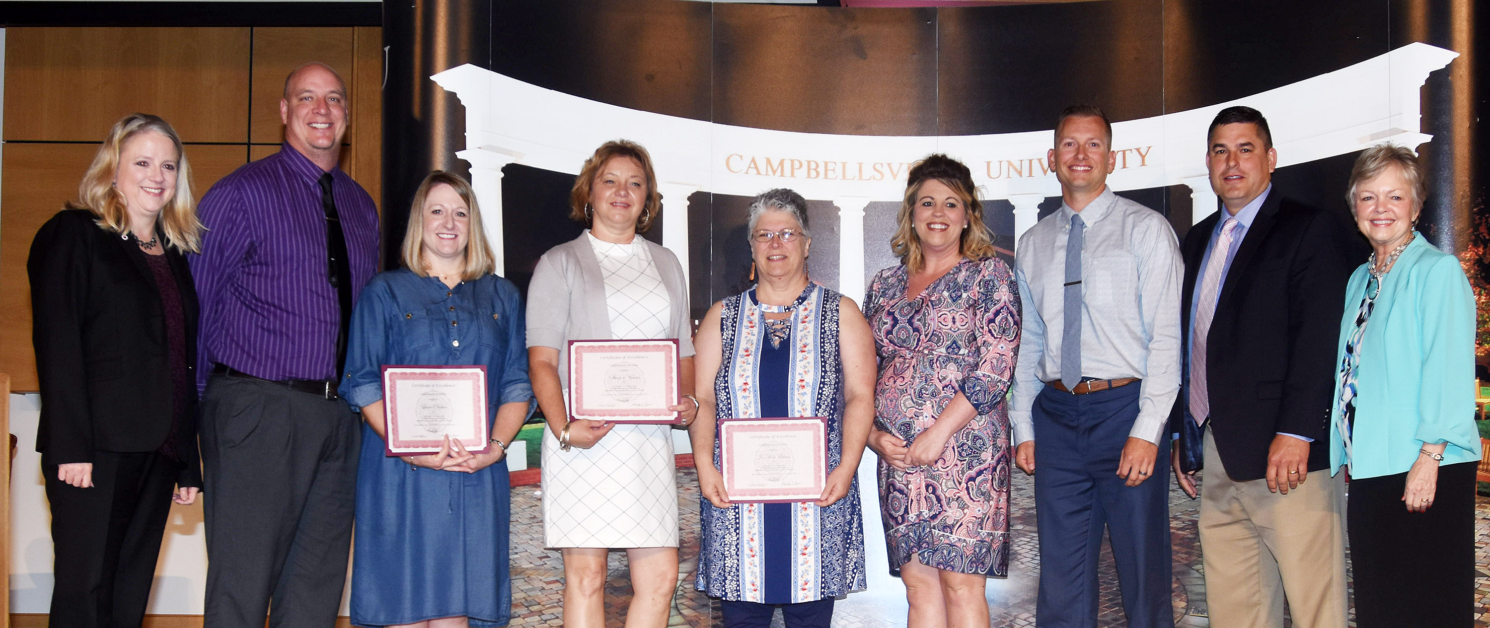 Campbellsville Independent Schools' teachers were honored at Campbellsville University's Excellence in Teaching Awards ceremony on Saturday, May 19. From left are CU Provost and Vice President for Academic Affairs Donna Hedgepath, CHS Principal David Petett, CES reading interventionist Laura Dicken, CMS teacher Sharon Harris, CHS teacher Jo Ann Harris, CES Principal Elisha Rhodes, CMS Principal Zach Lewis, Superintendent Kirby Smith and Dr. Beverly Ennis, dean of the CU School of Education.