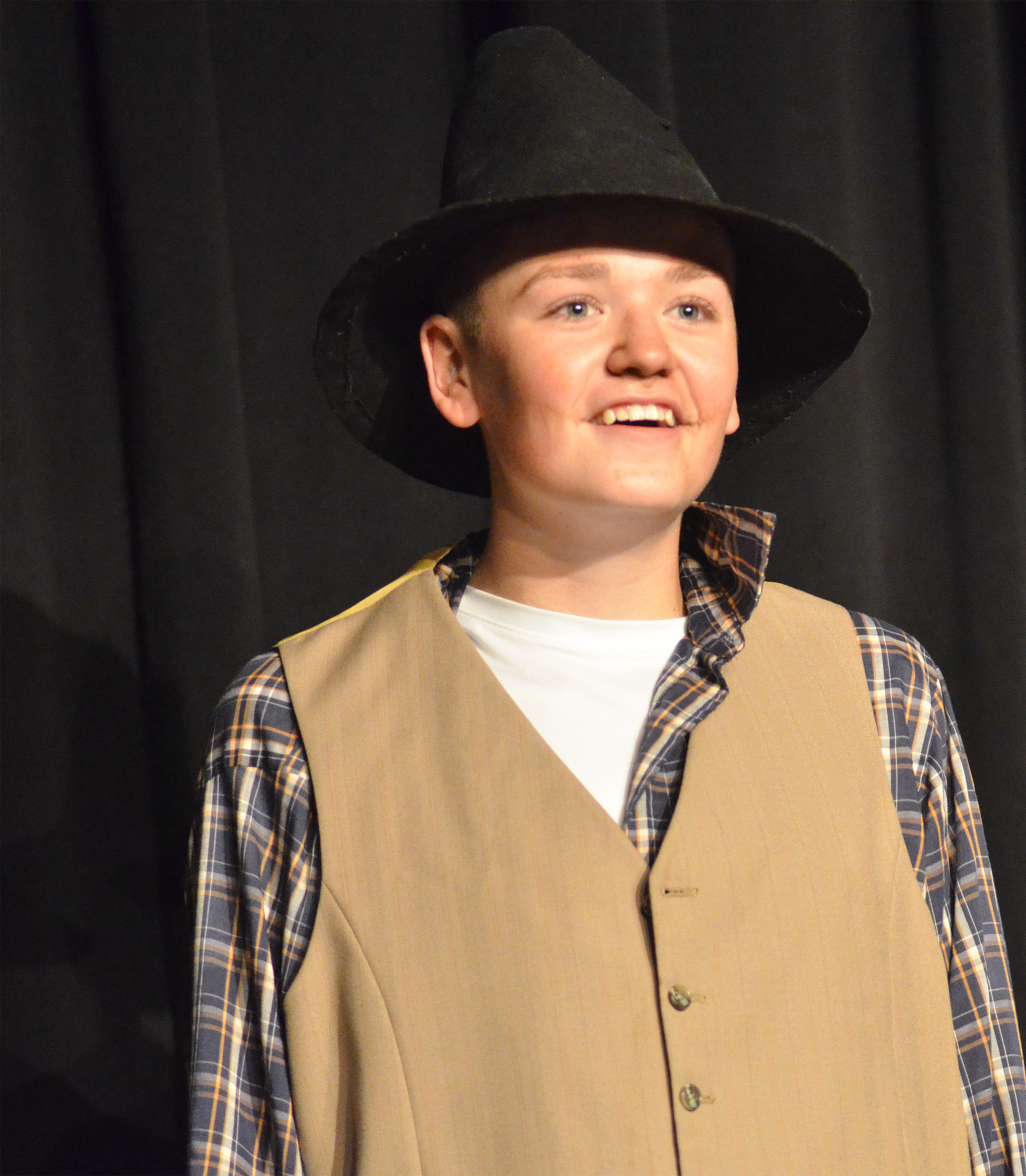 CHS freshman Gavin Johnson portrays scarecrow and hunk.